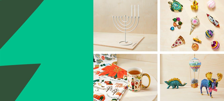 Colorful glass ornaments, a menorah, mug and dish towels, whimsical animal figurines.