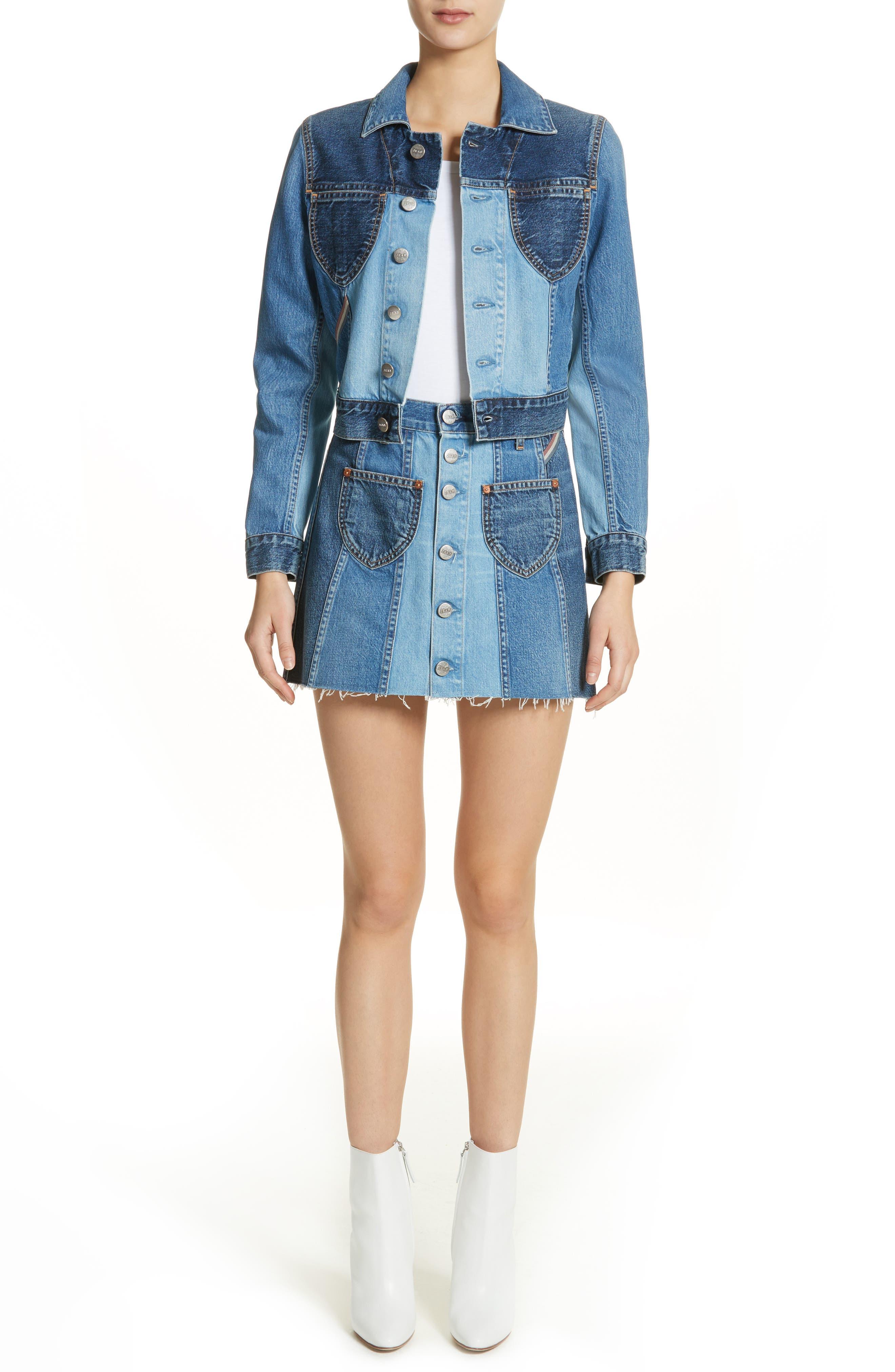 Eloise High Rise Denim Miniskirt,                             Alternate thumbnail 7, color,                             424