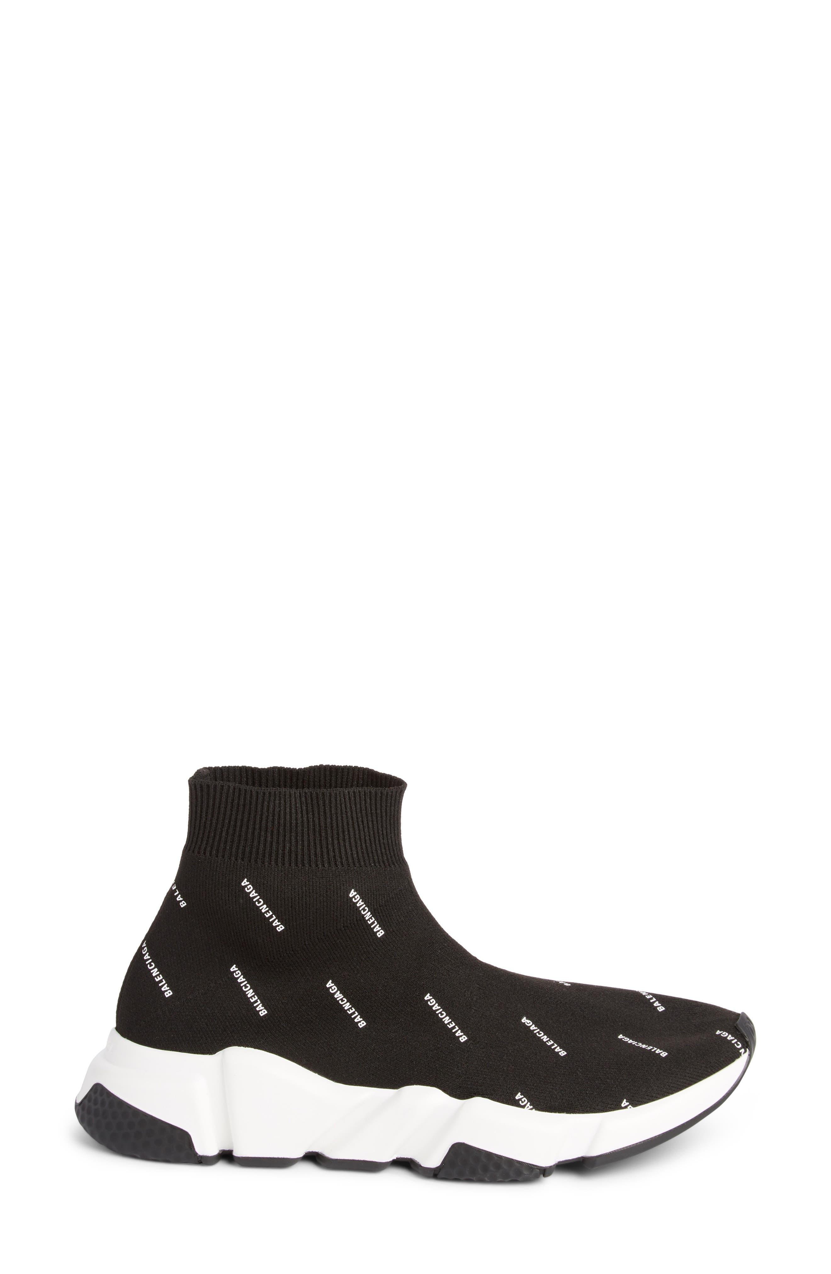 Speed Logo Sock Sneaker,                             Alternate thumbnail 3, color,                             BLACK/ WHITE
