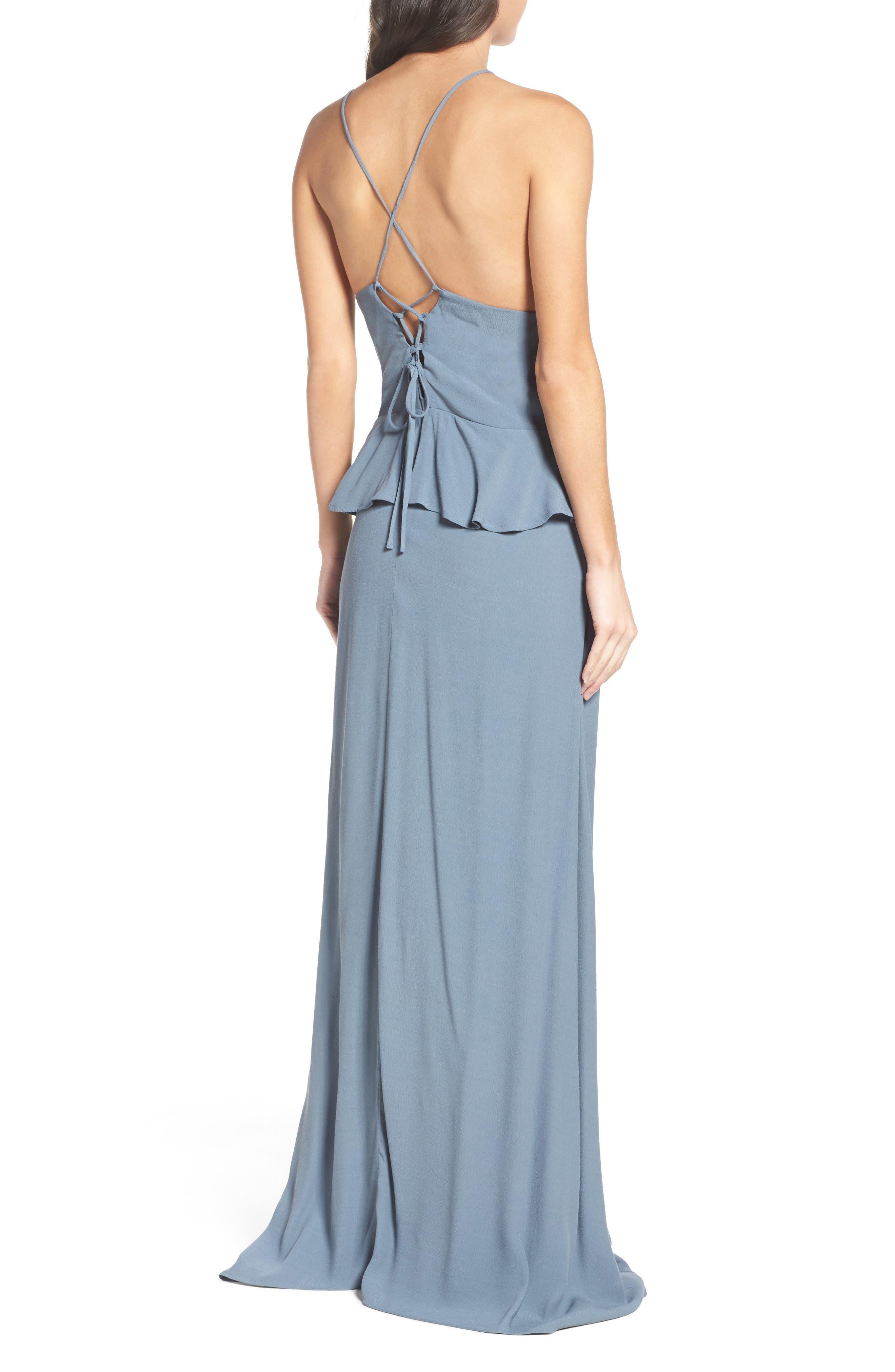Roe + May Jolie Crepe Peplum Dress,                             Alternate thumbnail 4, color,