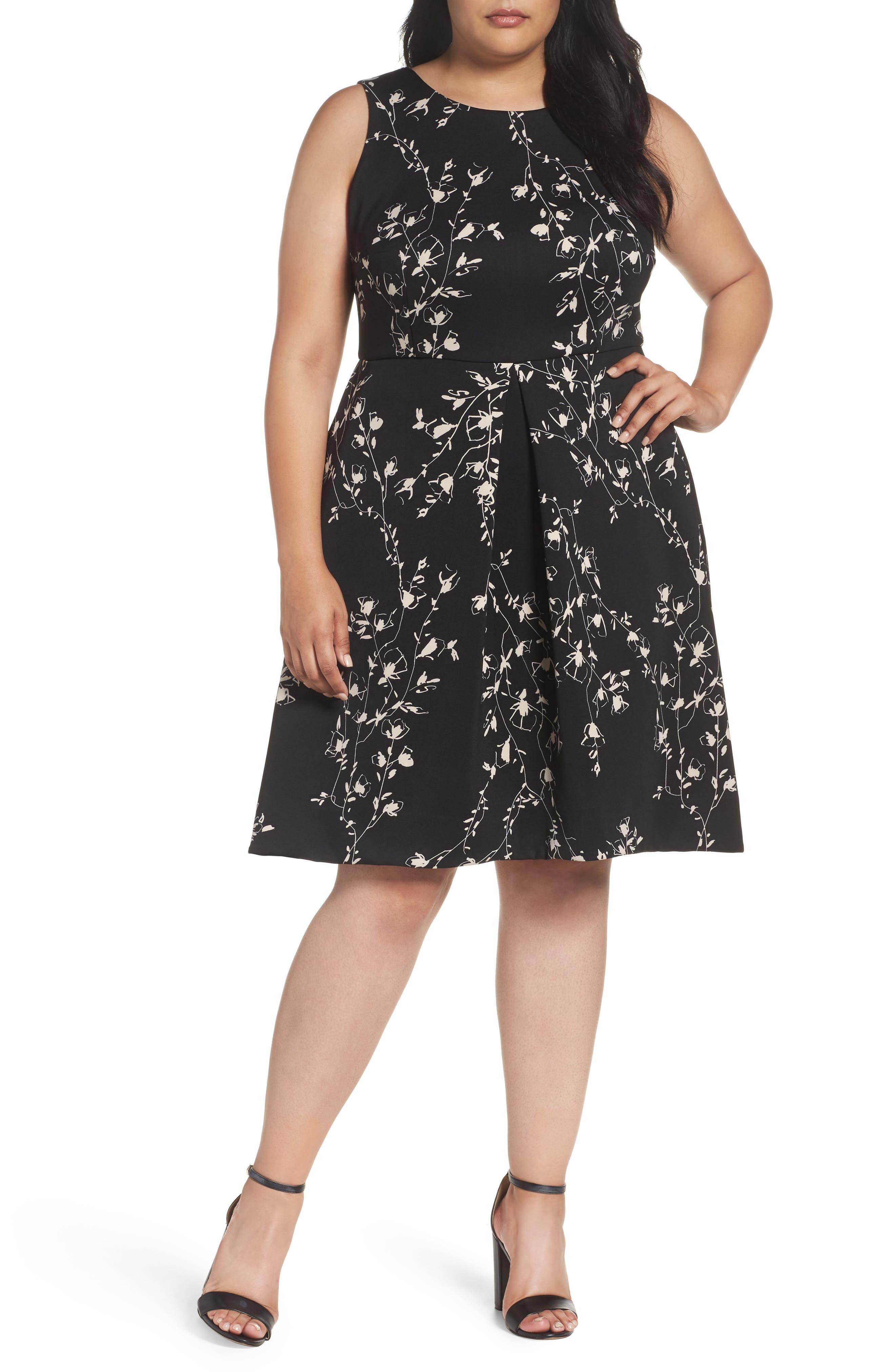 Etched Floral Scuba Knit Fit & Flare Dress,                         Main,                         color, 001