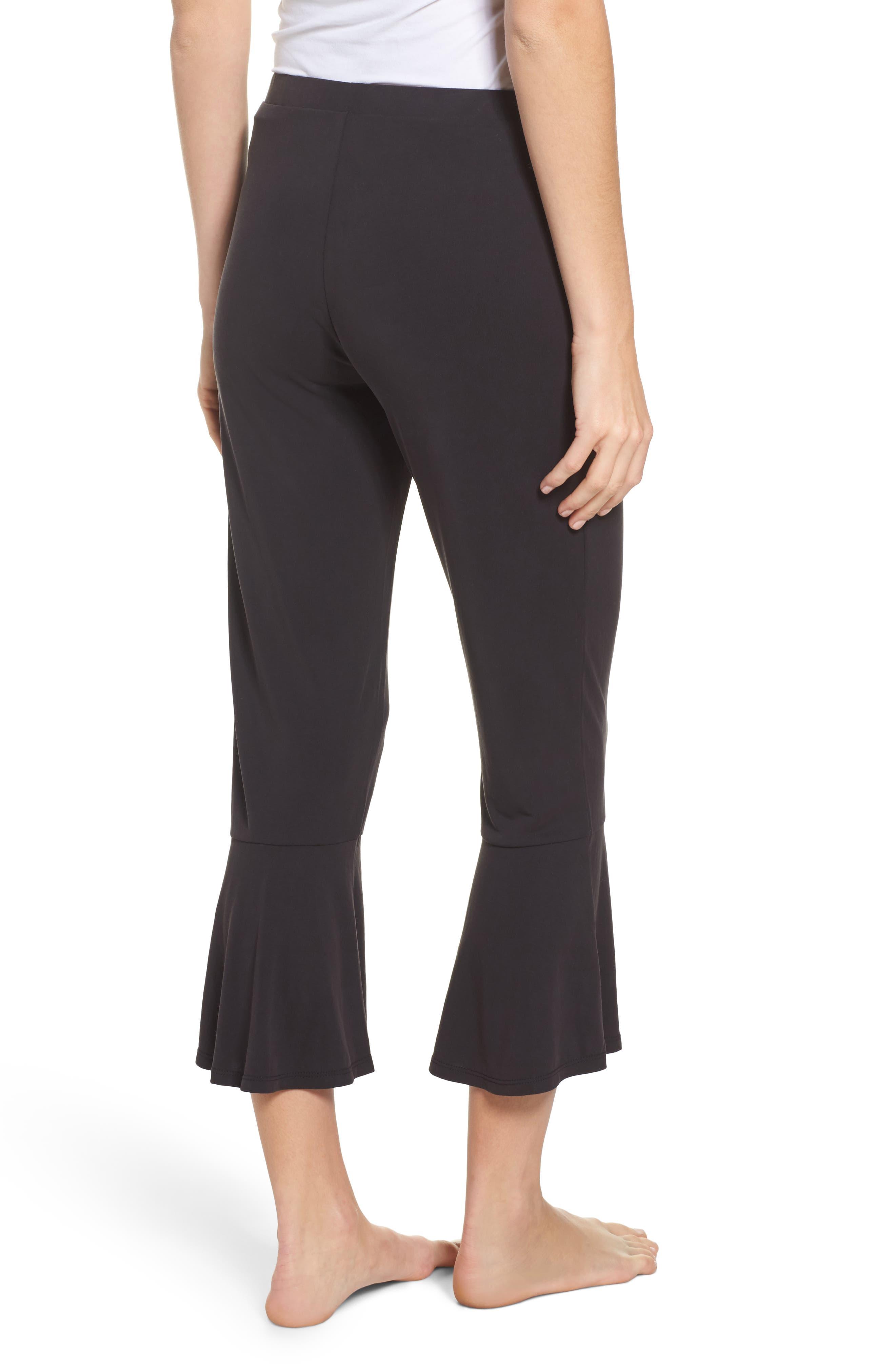 Aden Ruffle Hem Lounge Pants,                             Alternate thumbnail 2, color,                             BLACK