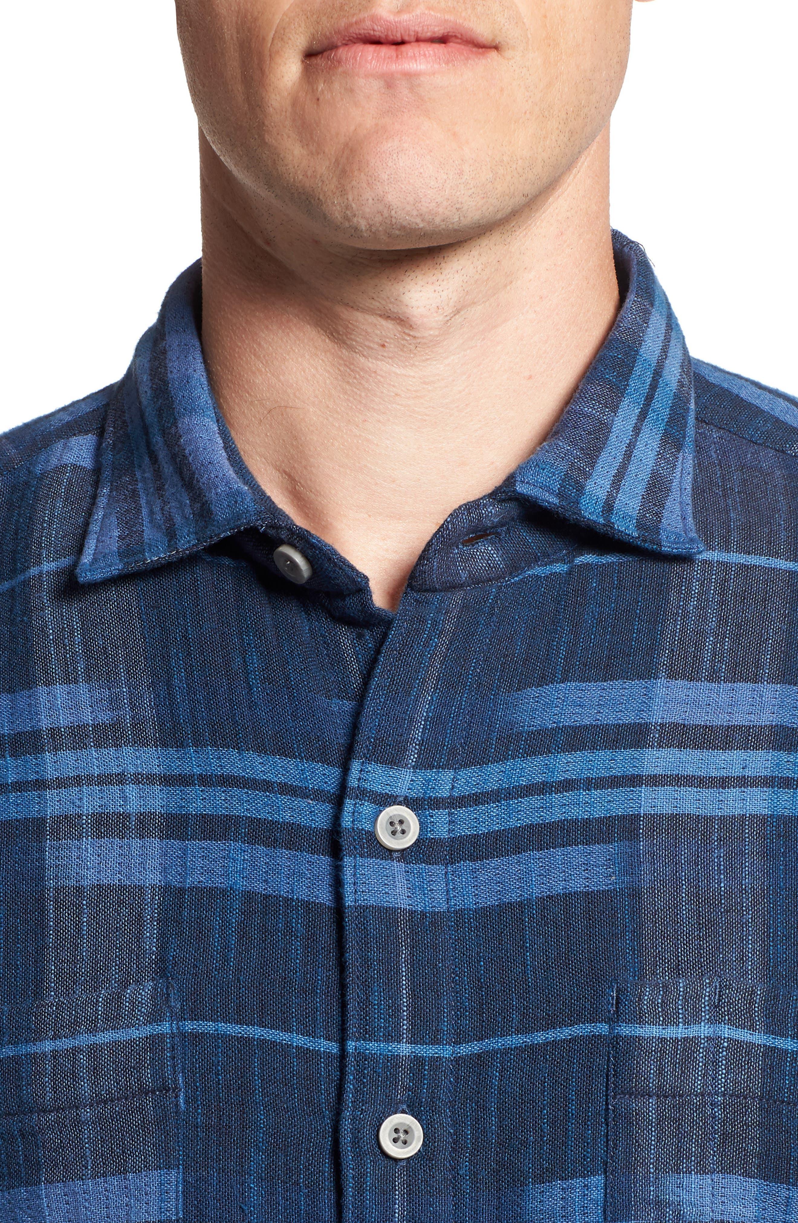 Amparo Plaid Sport Shirt,                             Alternate thumbnail 4, color,                             BLUE JEAN