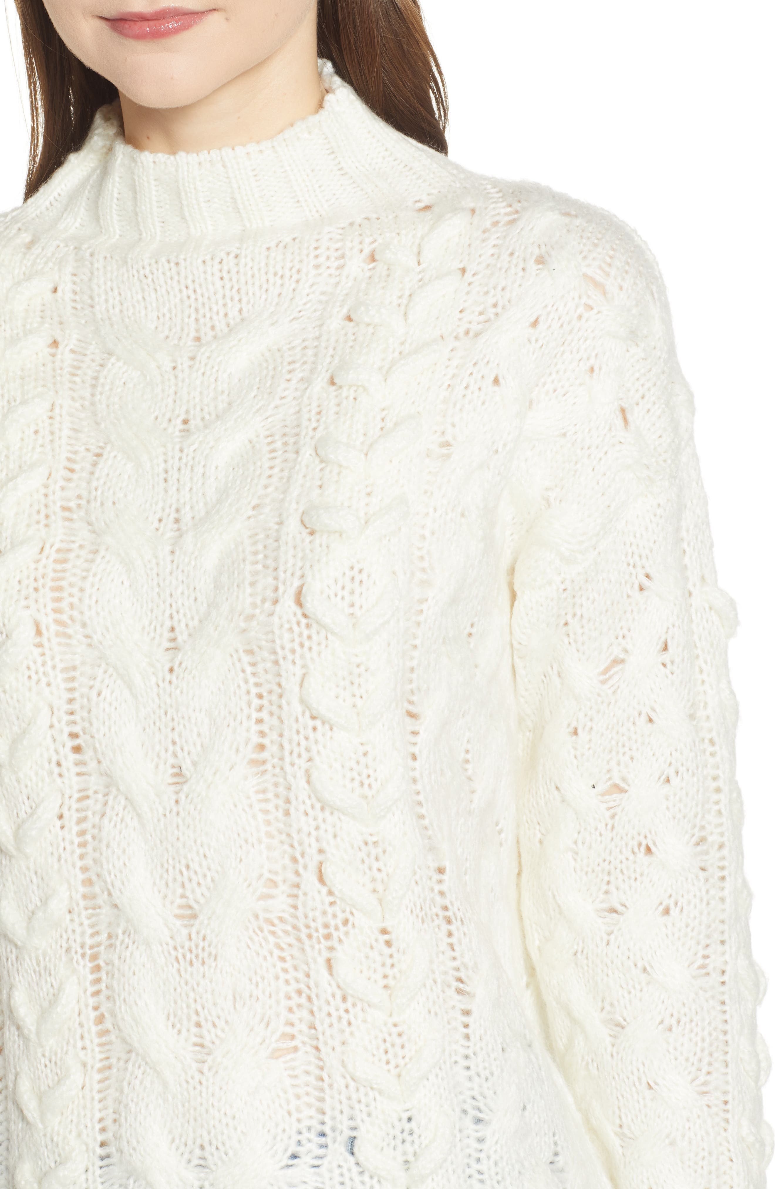 Braided Cable Knit Sweater,                             Alternate thumbnail 4, color,                             IVORY