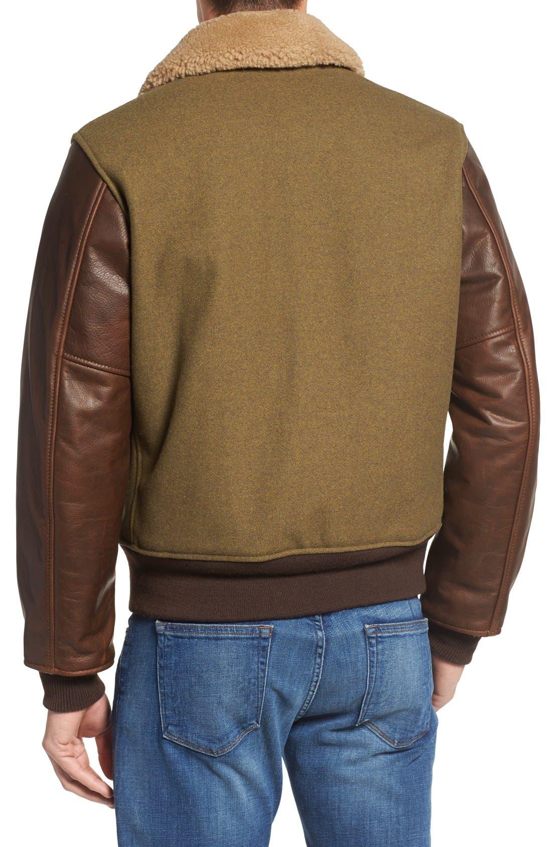 Mixed Media B-15 Flight Jacket with Genuine Shearling Collar,                             Alternate thumbnail 3, color,