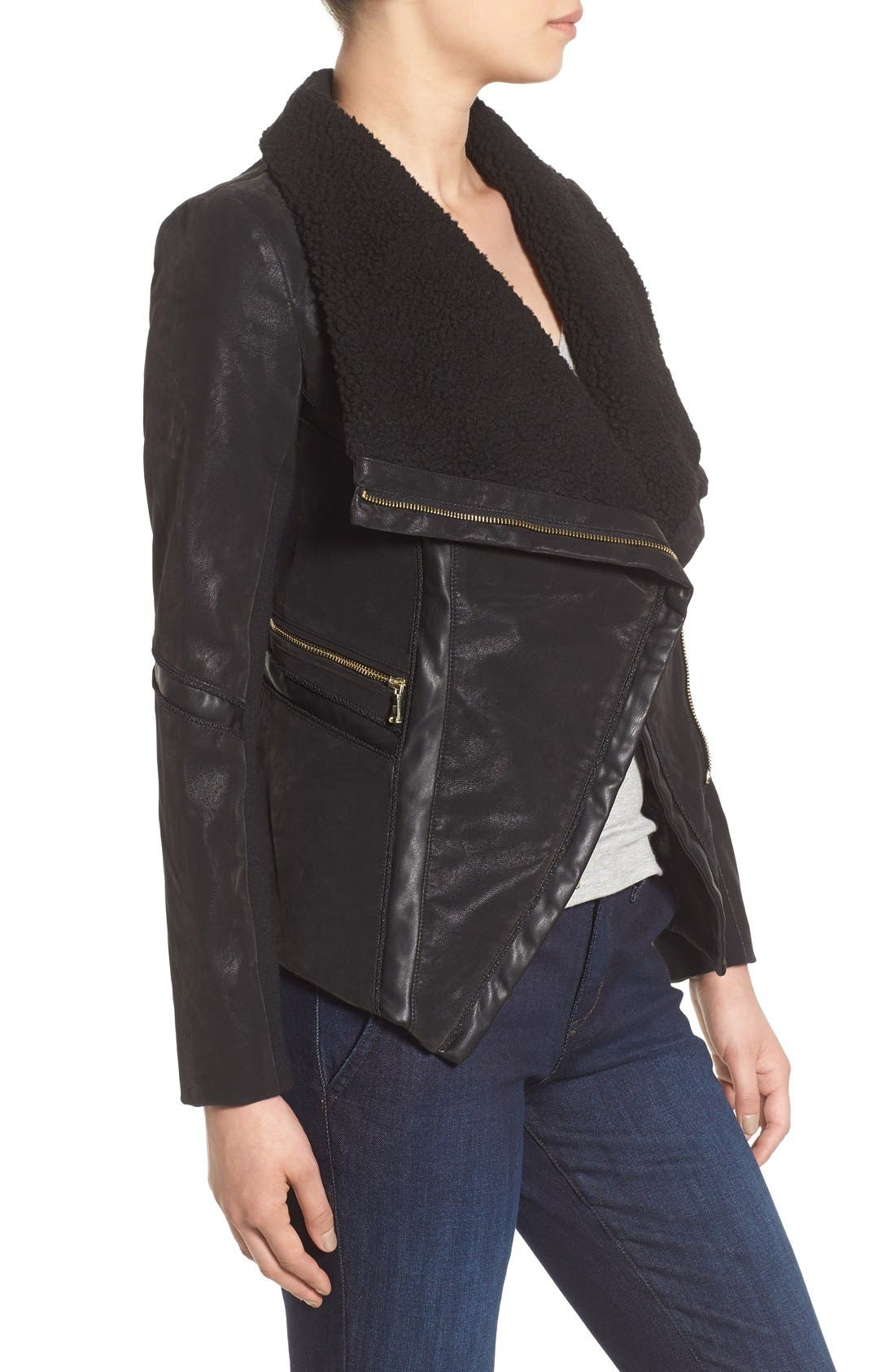 Faux Leather Moto Jacket with Faux Fur Trim,                             Alternate thumbnail 3, color,                             001