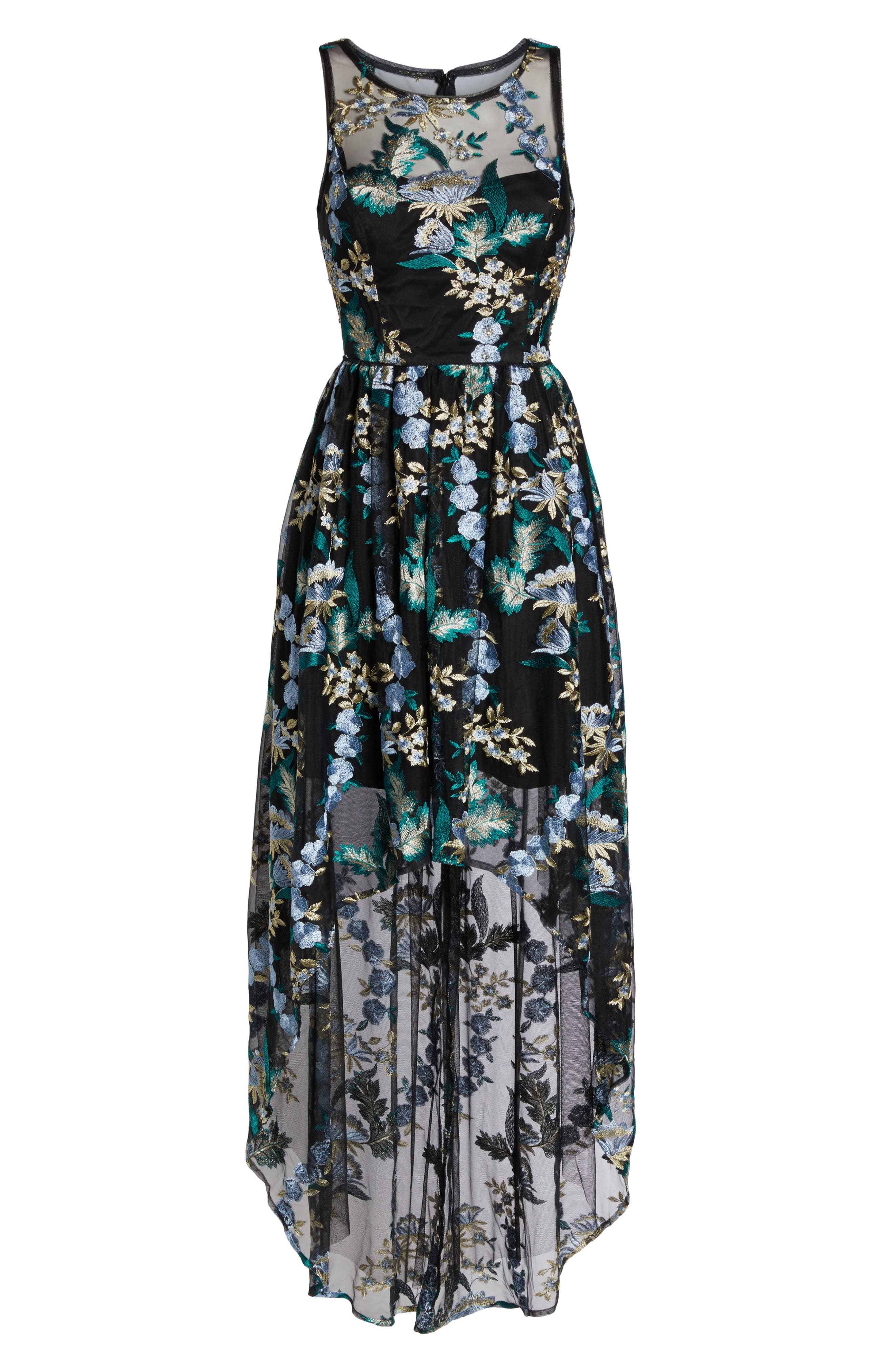 Embroidered Tulle High/Low Dress,                             Alternate thumbnail 6, color,                             010
