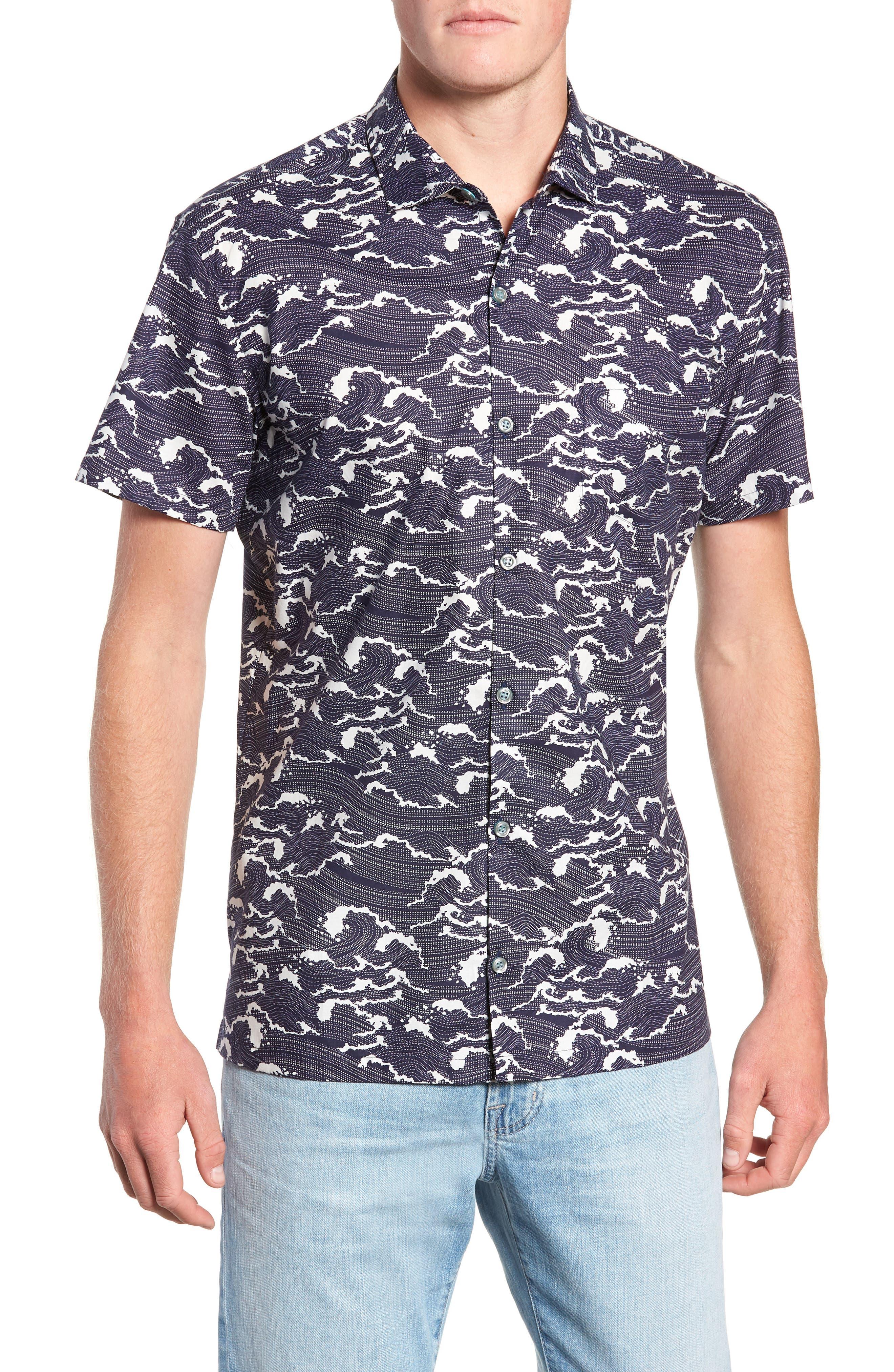 Ebb & Flow Trim Fit Camp Shirt,                         Main,                         color, NAVY