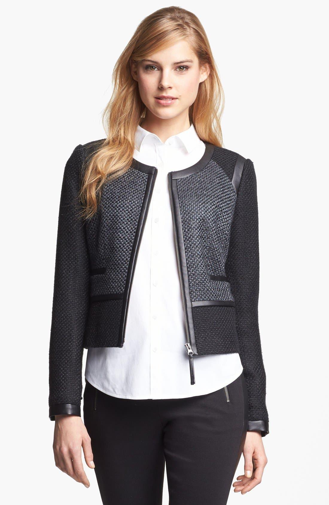 Faux Leather Trim Tweed Jacket,                             Alternate thumbnail 4, color,                             001