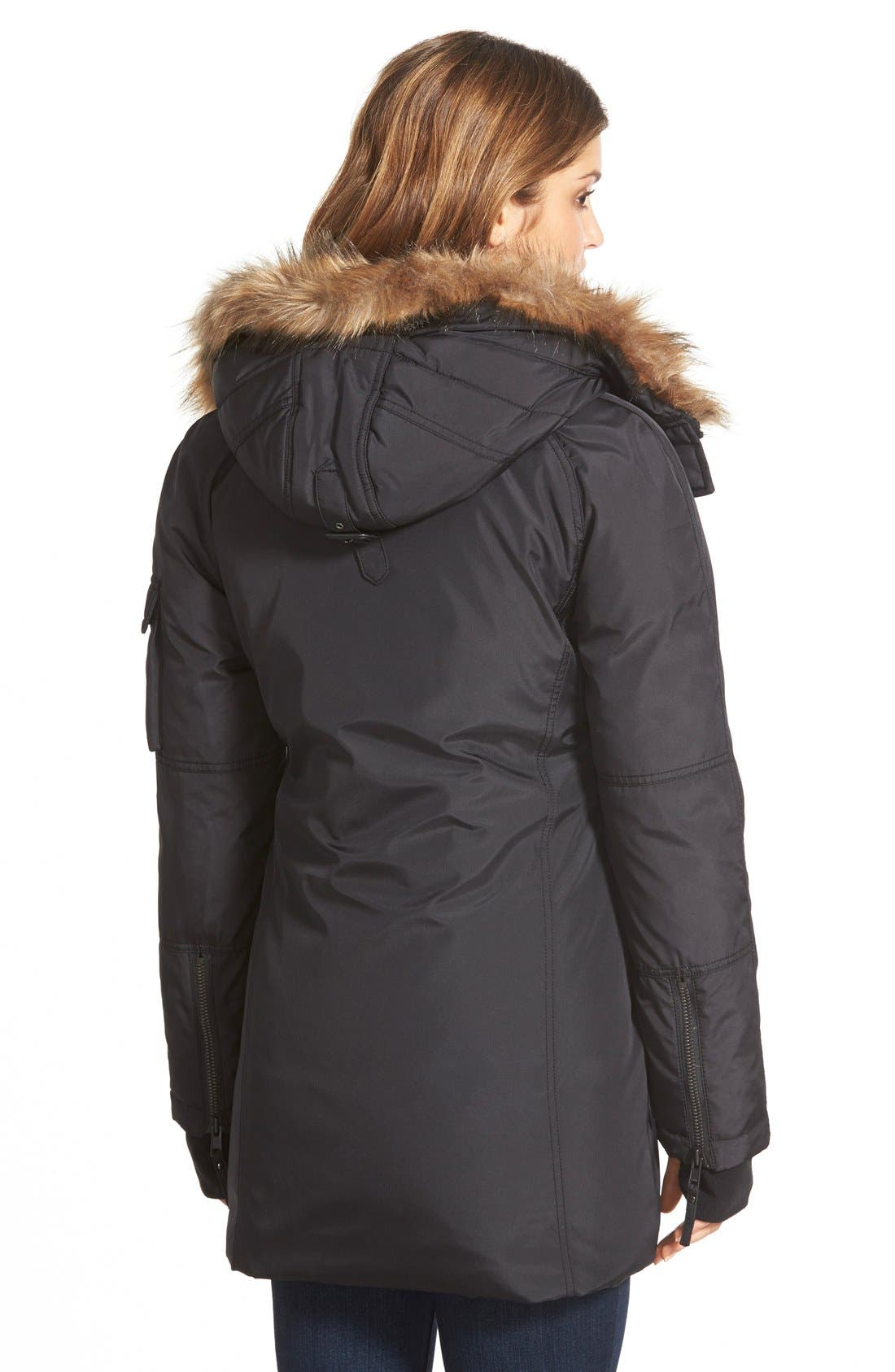 NYC 'Arctic' Faux Fur Trim Down & Feather Fill Parka,                             Alternate thumbnail 3, color,                             001