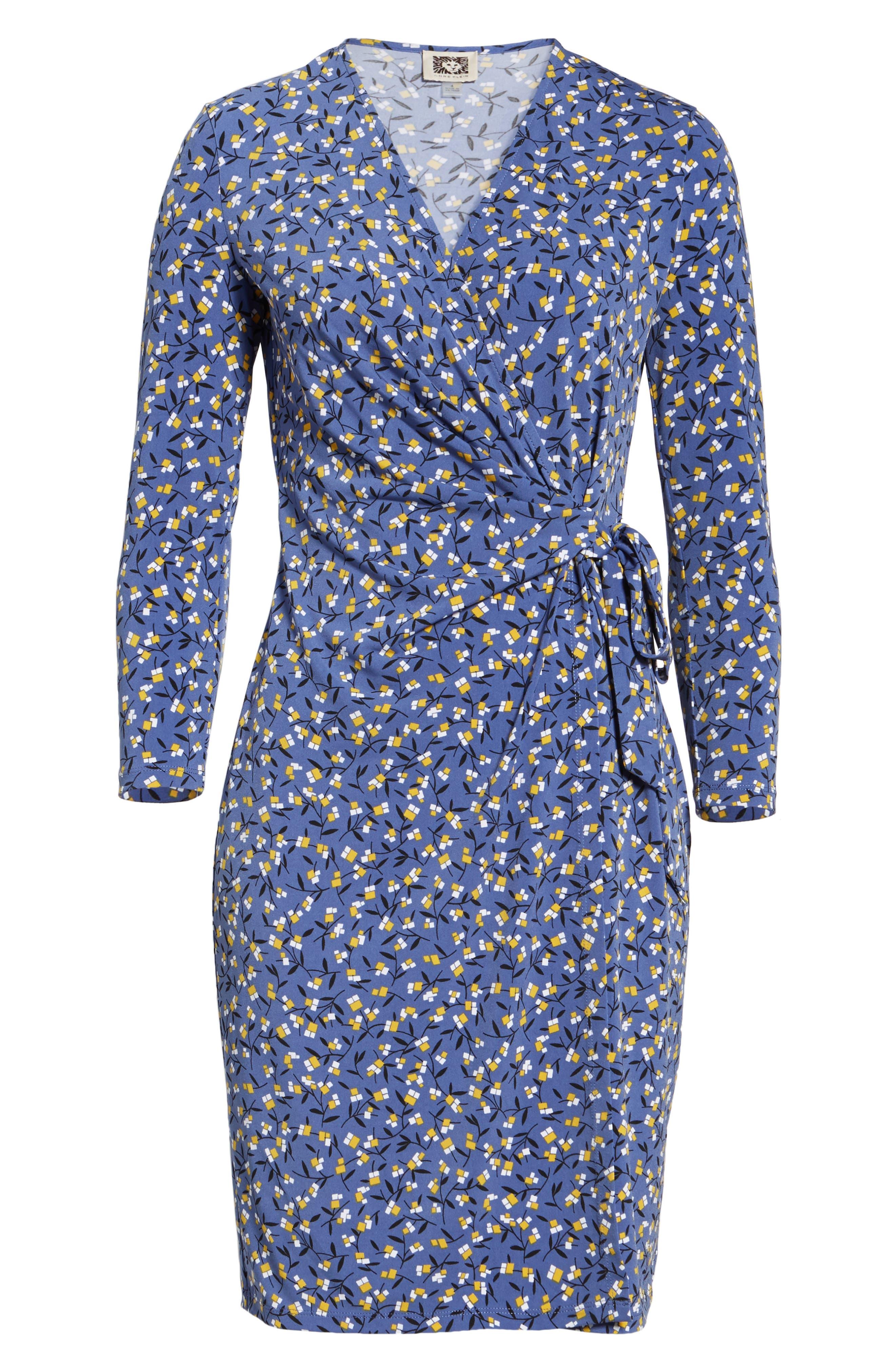 Dot Print Faux Wrap Dress,                             Alternate thumbnail 6, color,                             420