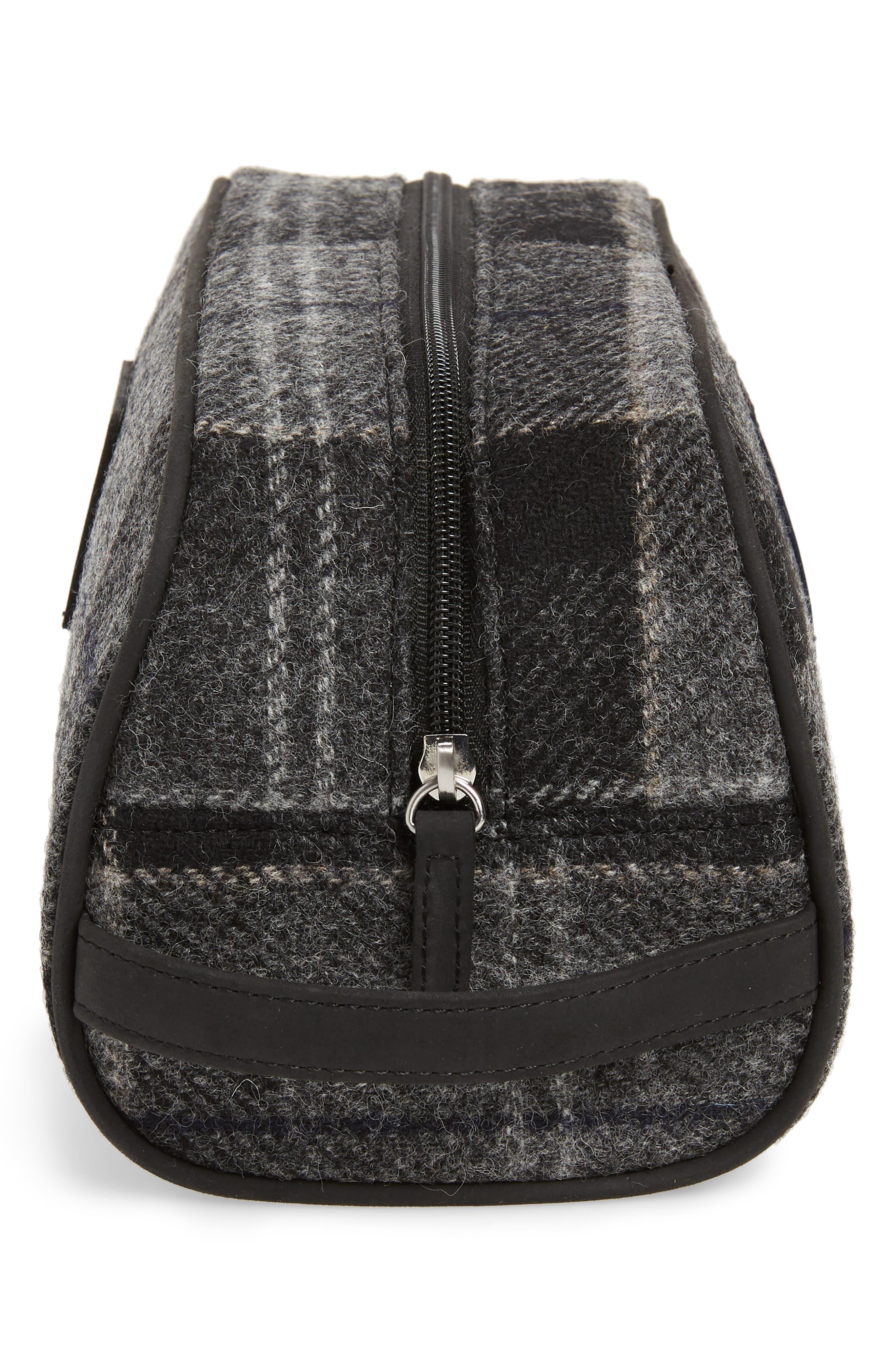 Shadow Tartan Wool Travel Kit,                             Alternate thumbnail 4, color,                             BLACK/ GREY TARTAN