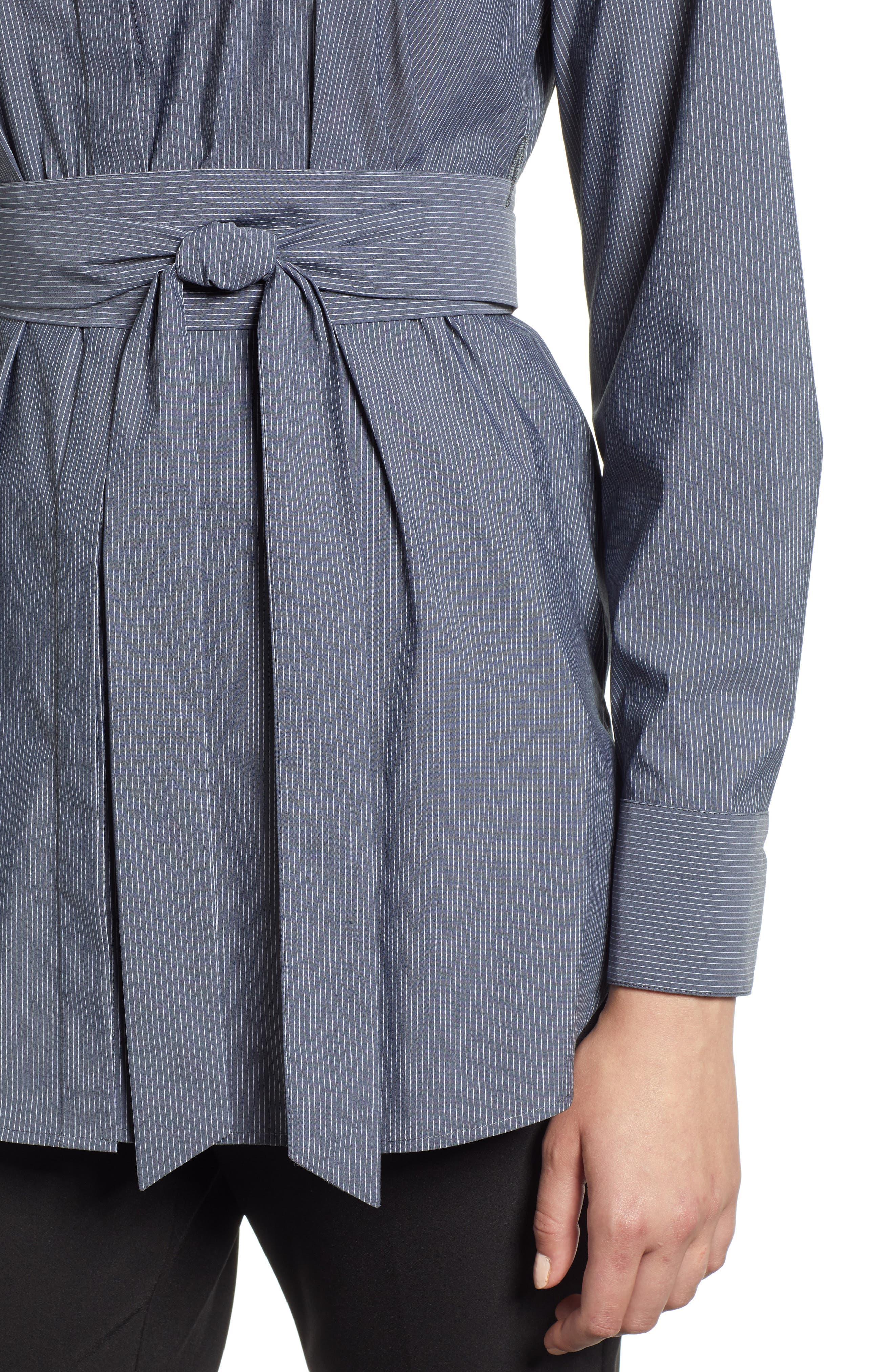 Belted Poplin Shirt,                             Alternate thumbnail 4, color,                             001