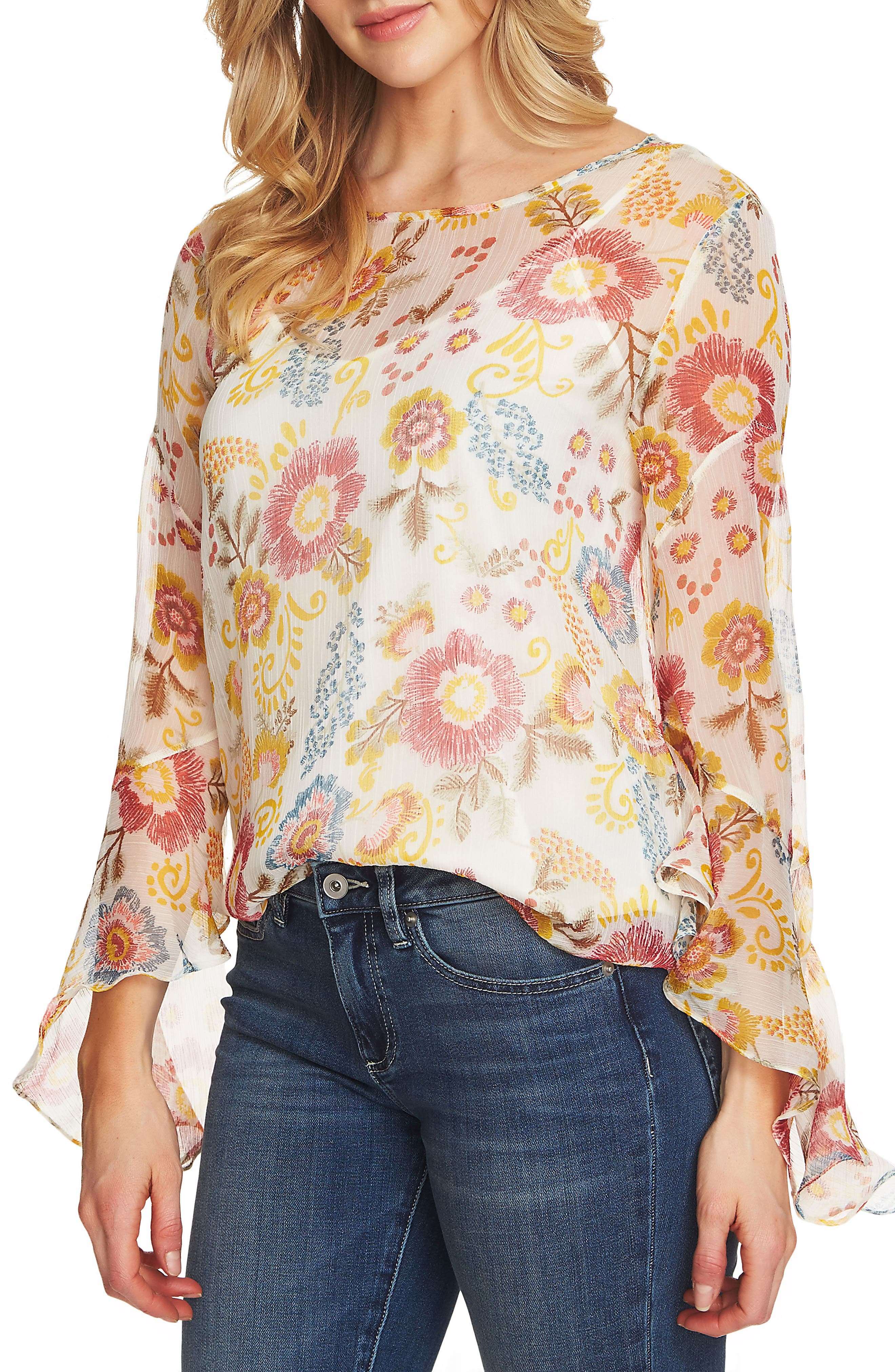 Flared Sleeve Floral Top,                             Main thumbnail 2, color,
