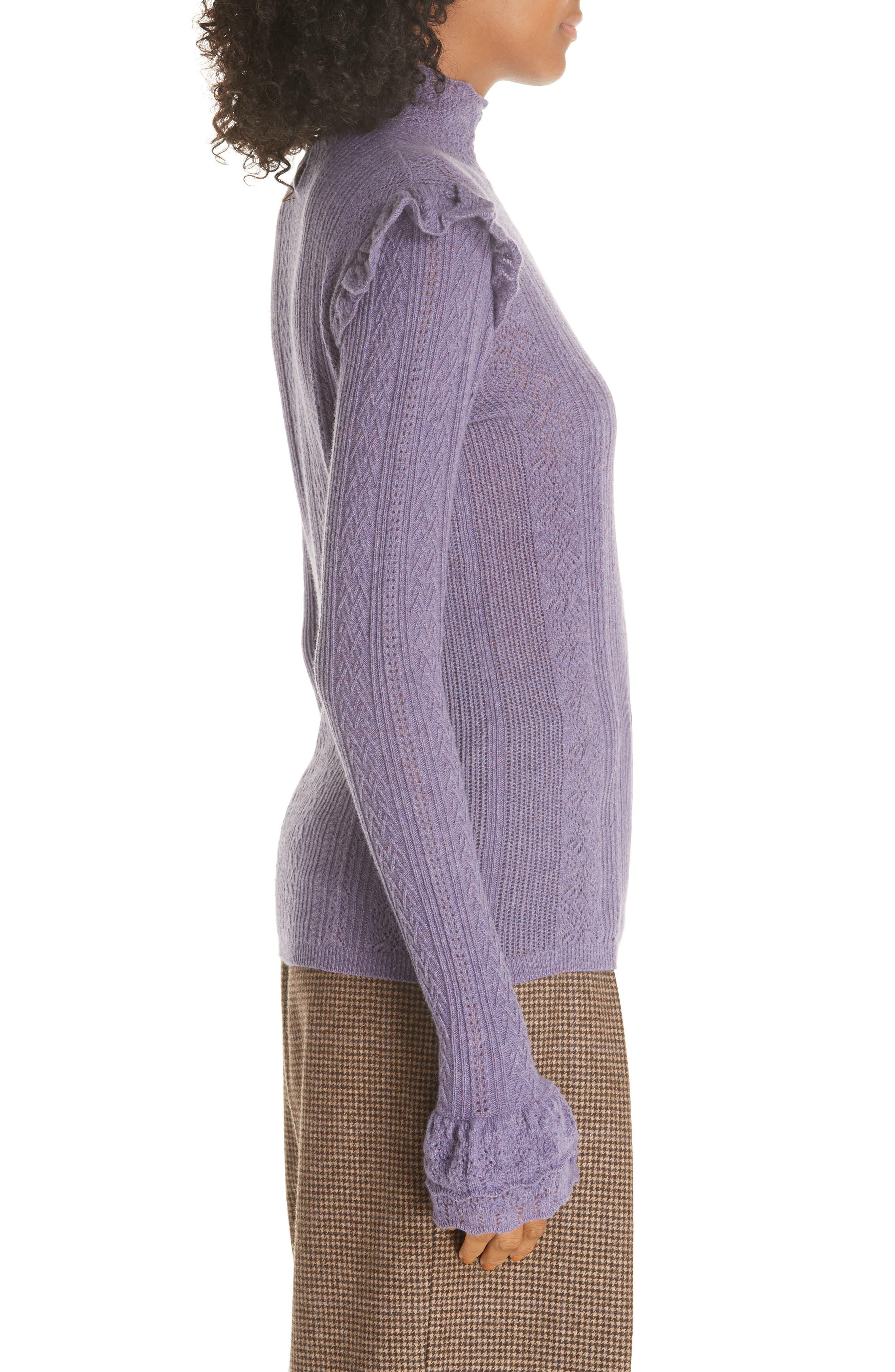 POLO RALPH LAUREN,                             Ruffle Detail Pointelle Sweater,                             Alternate thumbnail 3, color,                             500