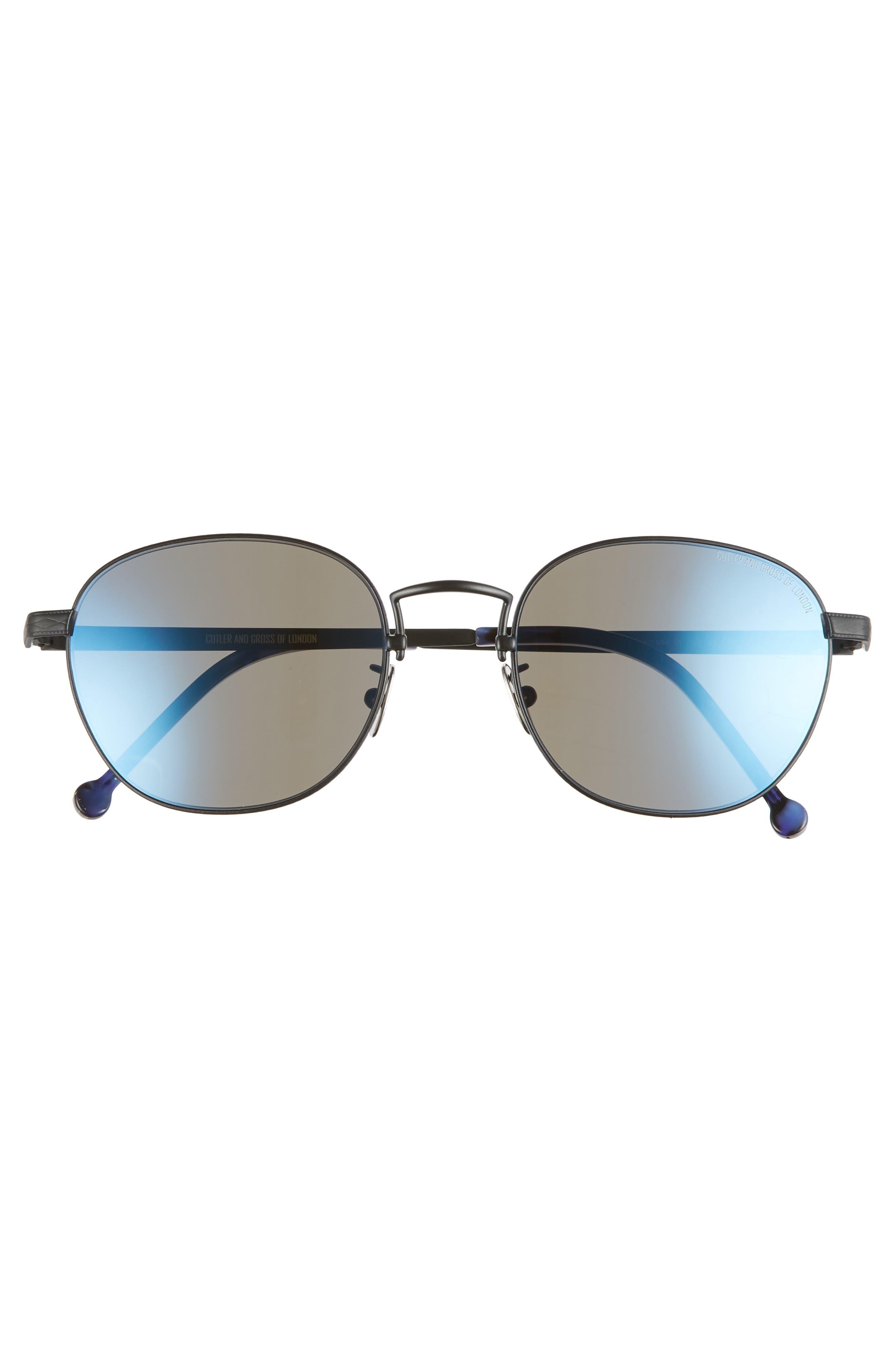 52mm Polarized Round Sunglasses,                             Alternate thumbnail 2, color,                             SATIN PALLADIUM/ BLUE