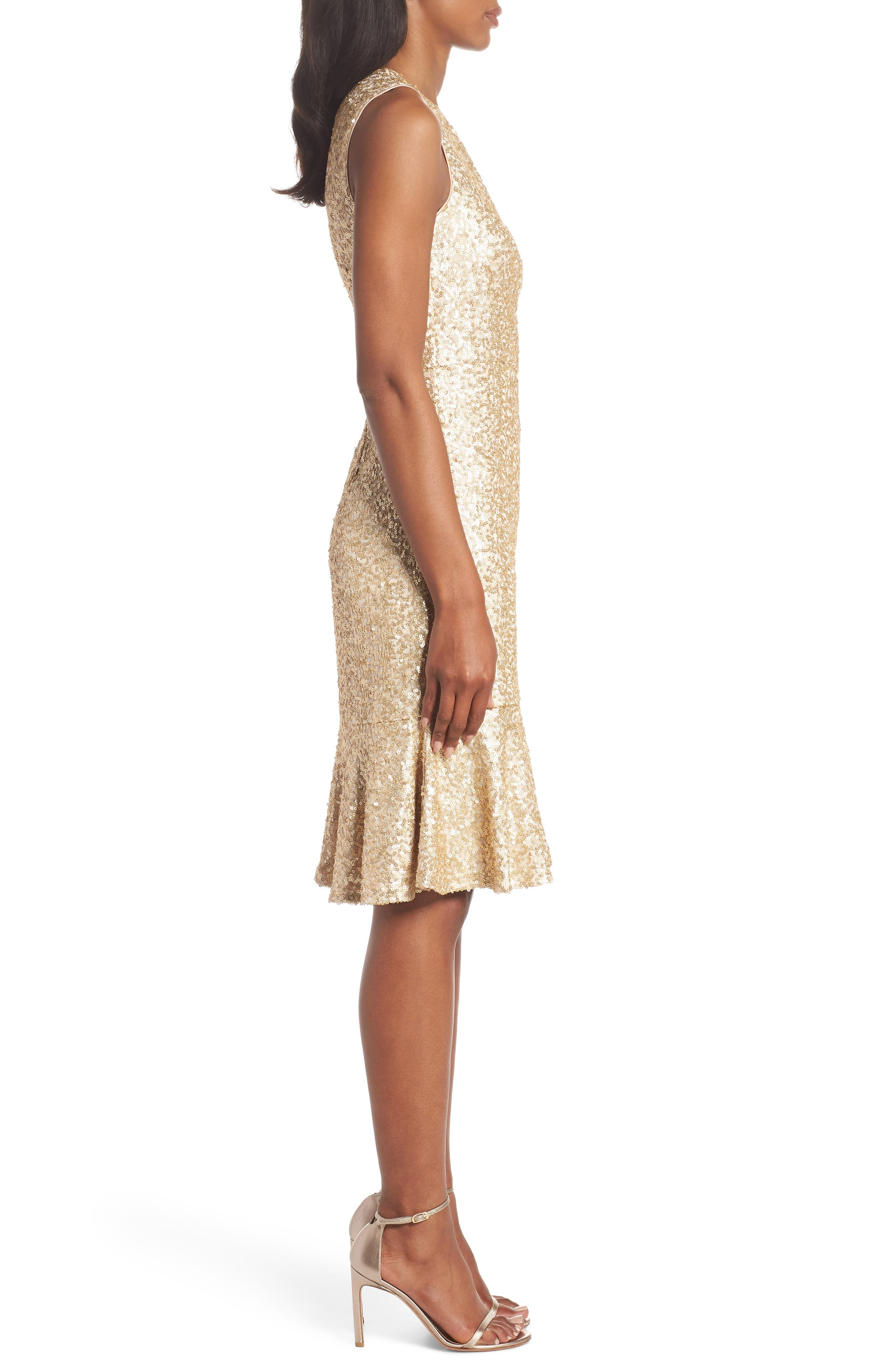 Sequin Ruffle Hem Sheath Dress,                             Alternate thumbnail 3, color,                             710
