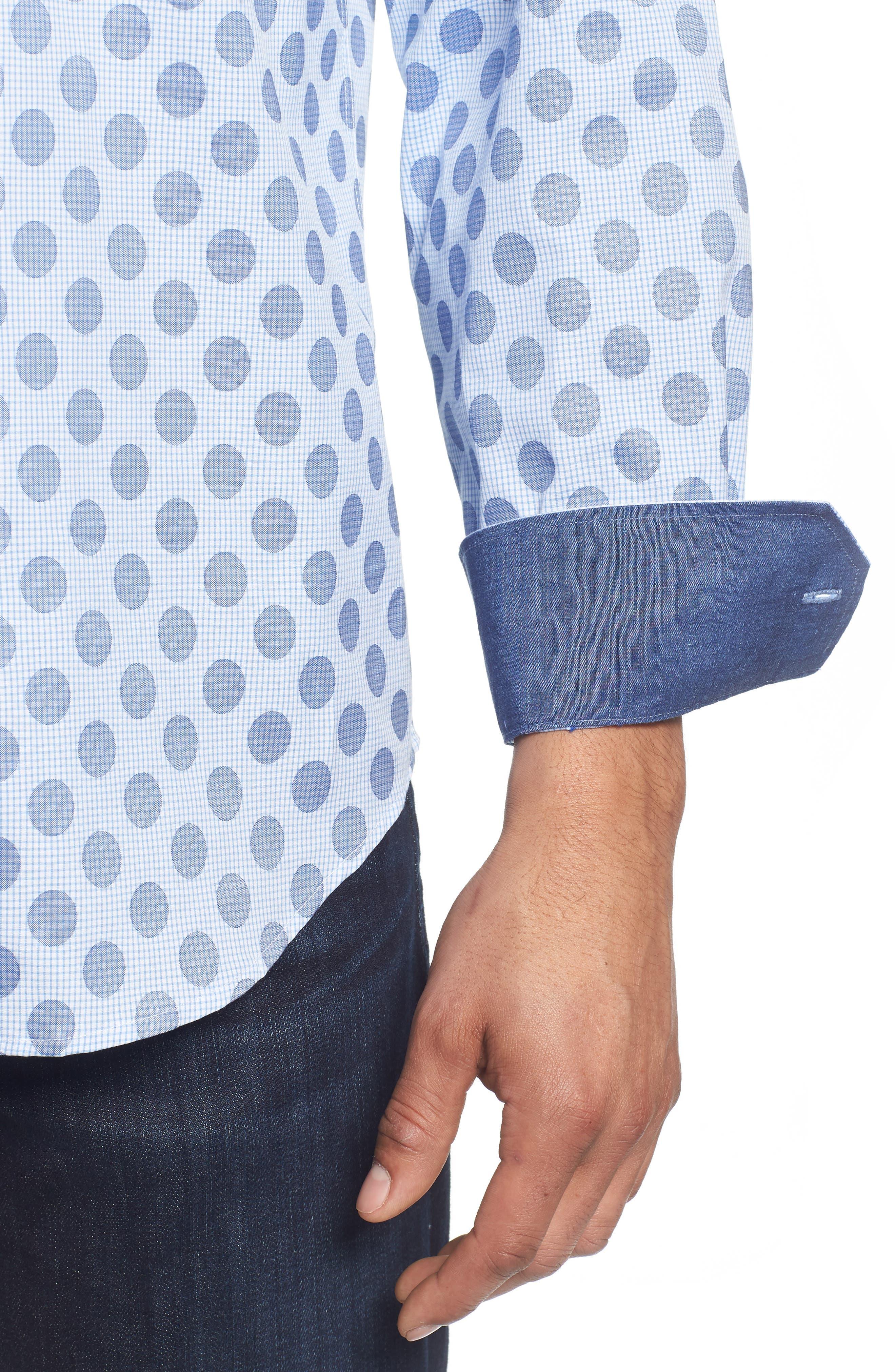Classic Fit Dot Check Sport Shirt,                             Alternate thumbnail 4, color,                             AIR BLUE