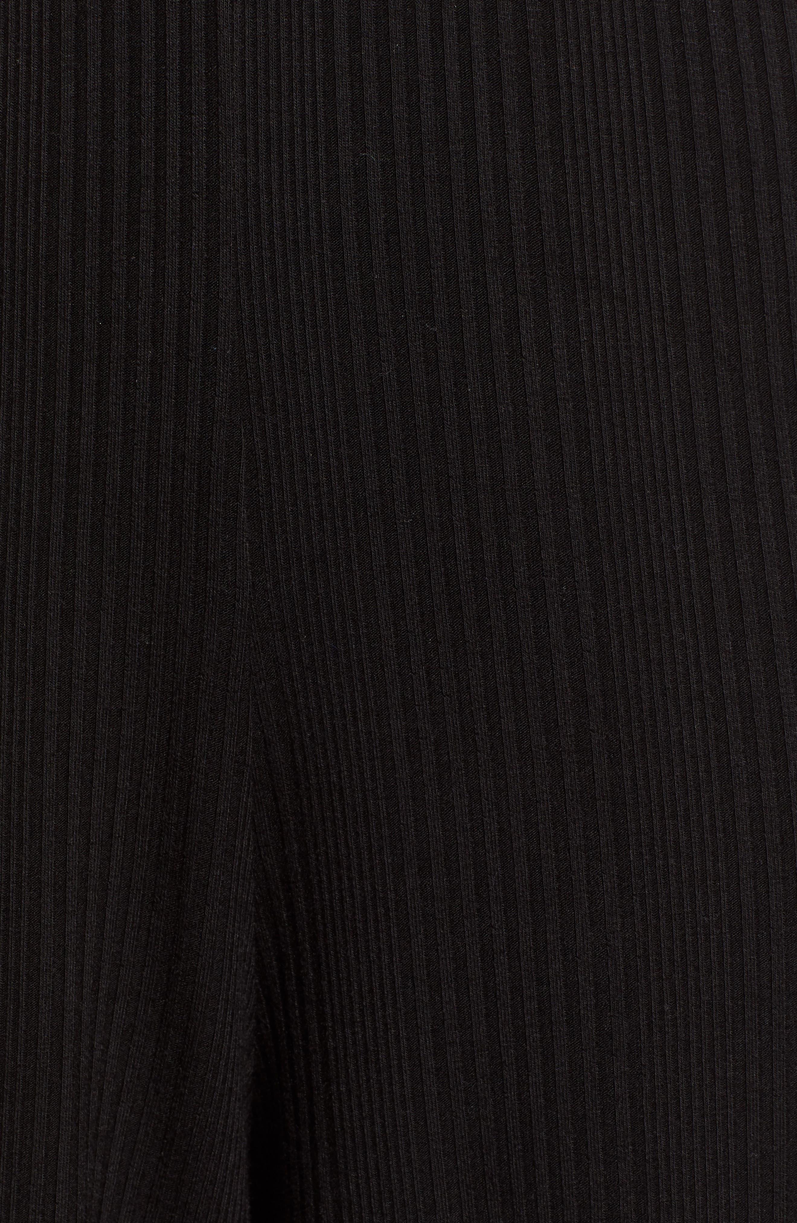 TEN SIXTY SHERMAN,                             Ribbed Crop Wide Leg Pants,                             Alternate thumbnail 6, color,                             BLACK
