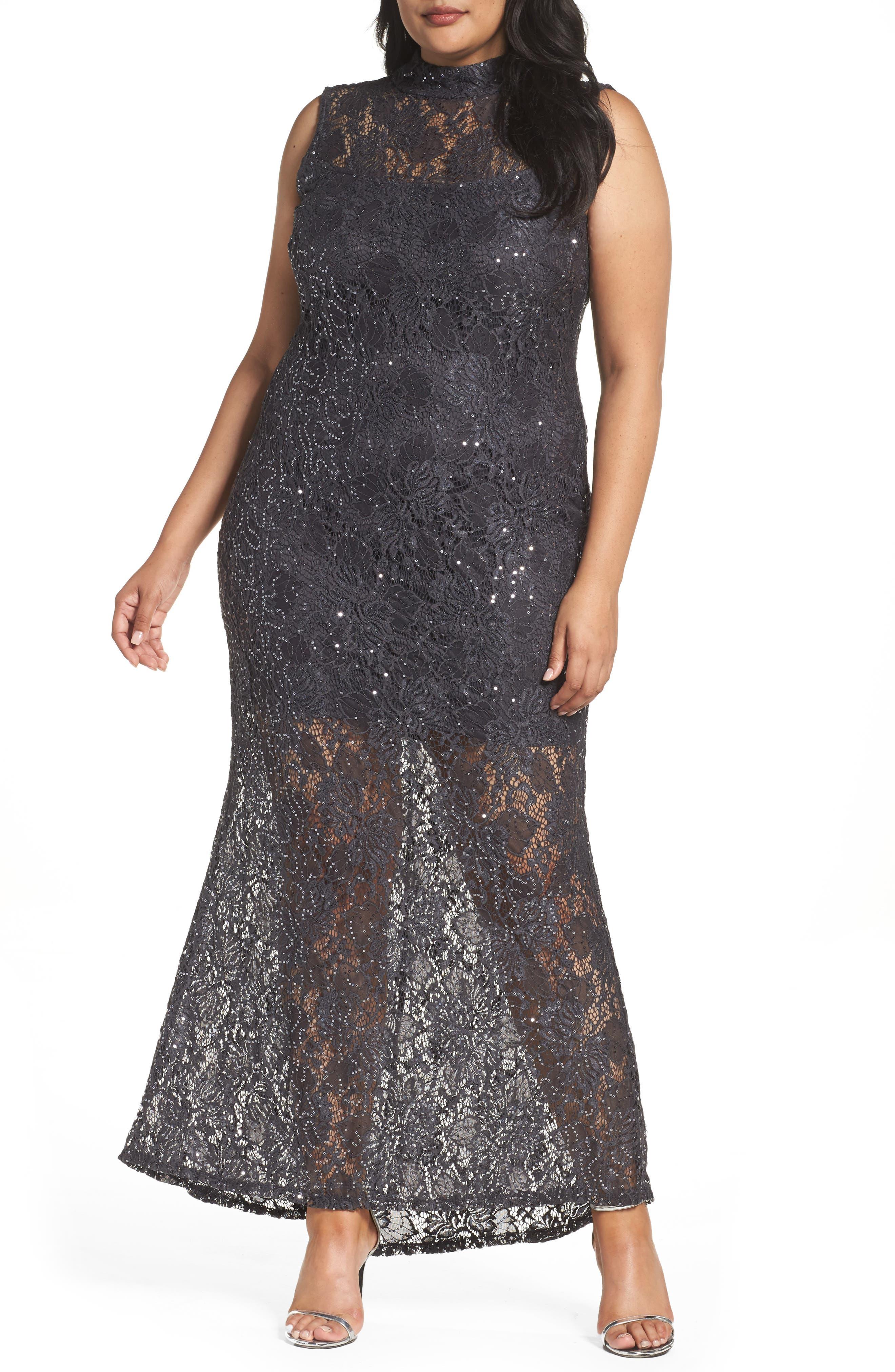 Illusion Lace Gown,                             Main thumbnail 1, color,                             069