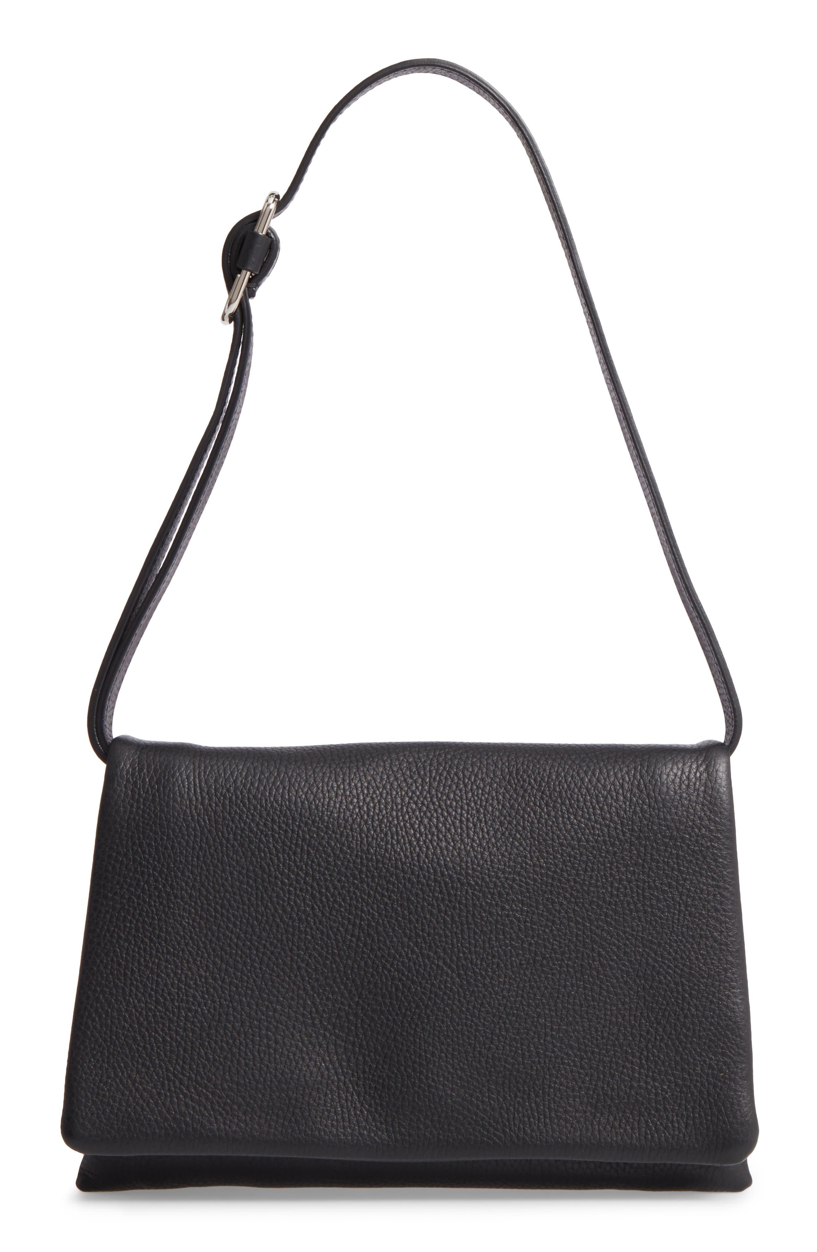 Leather Convertible Shoulder Bag,                             Main thumbnail 1, color,                             001