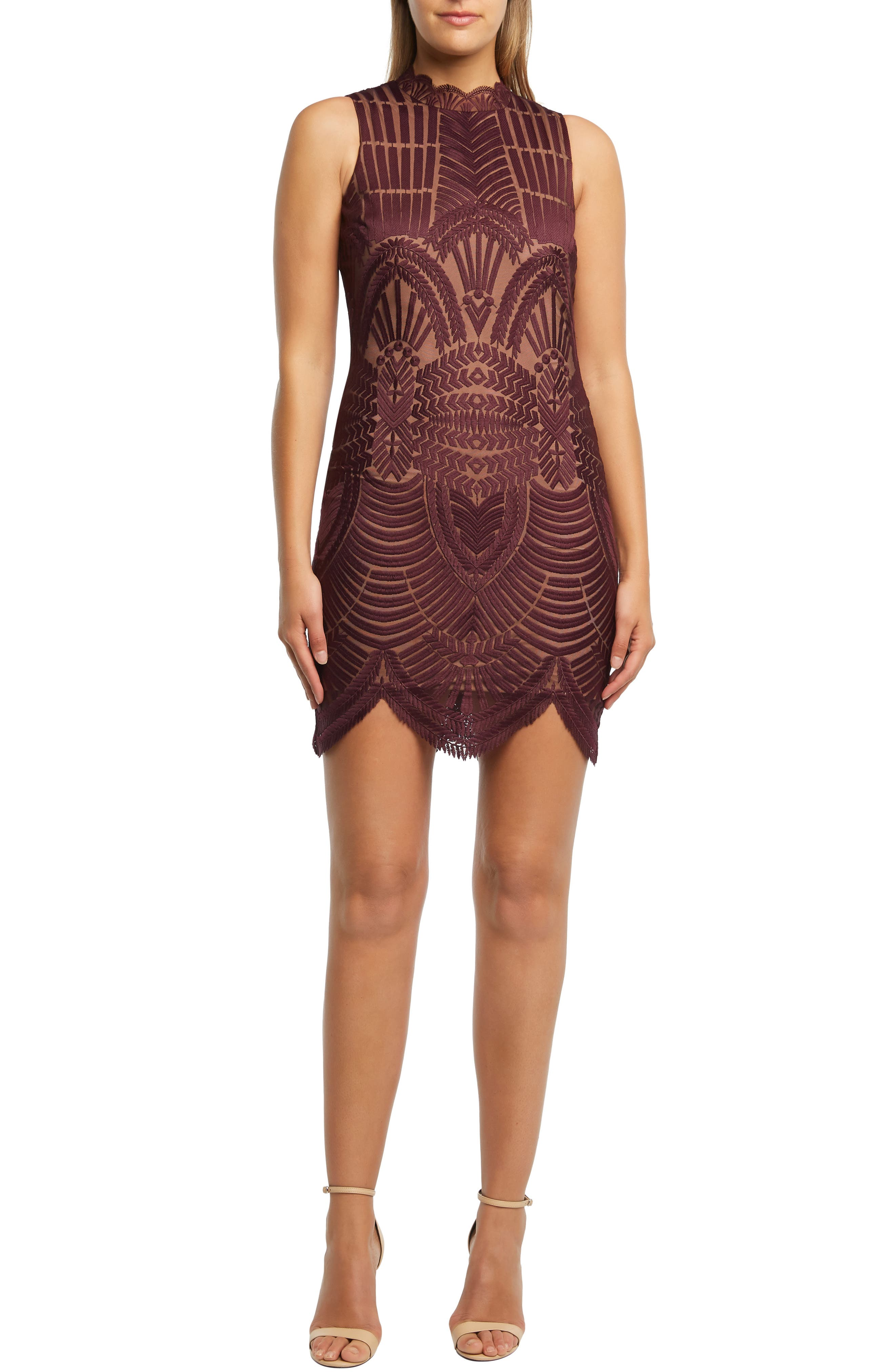 Bardot Alice Lace Body-Con Dress, Red