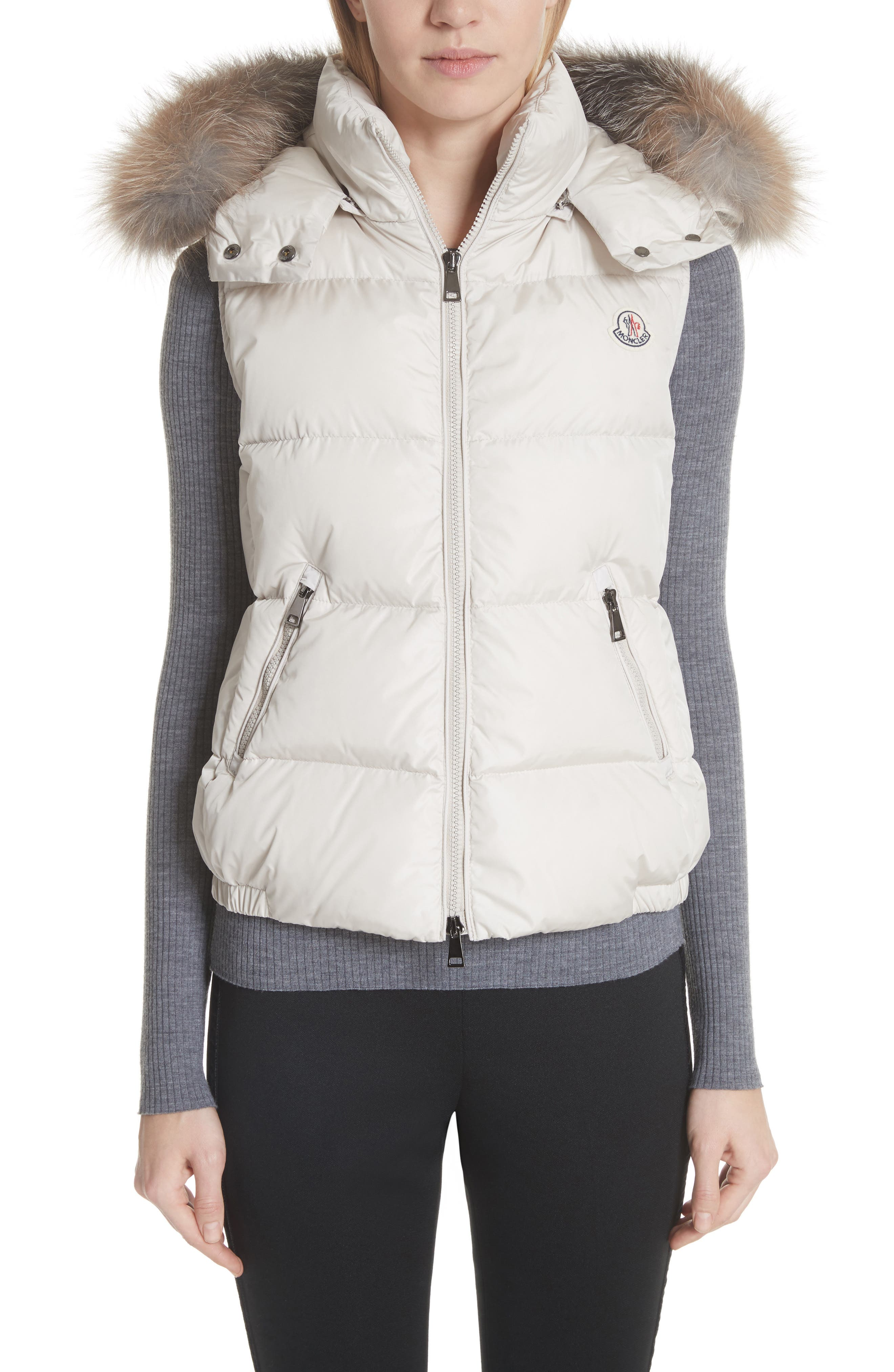Gallinule Quilted Down Vest with Detachable Genuine Fox Fur Trim Hood,                         Main,                         color, CHAMPAGNE
