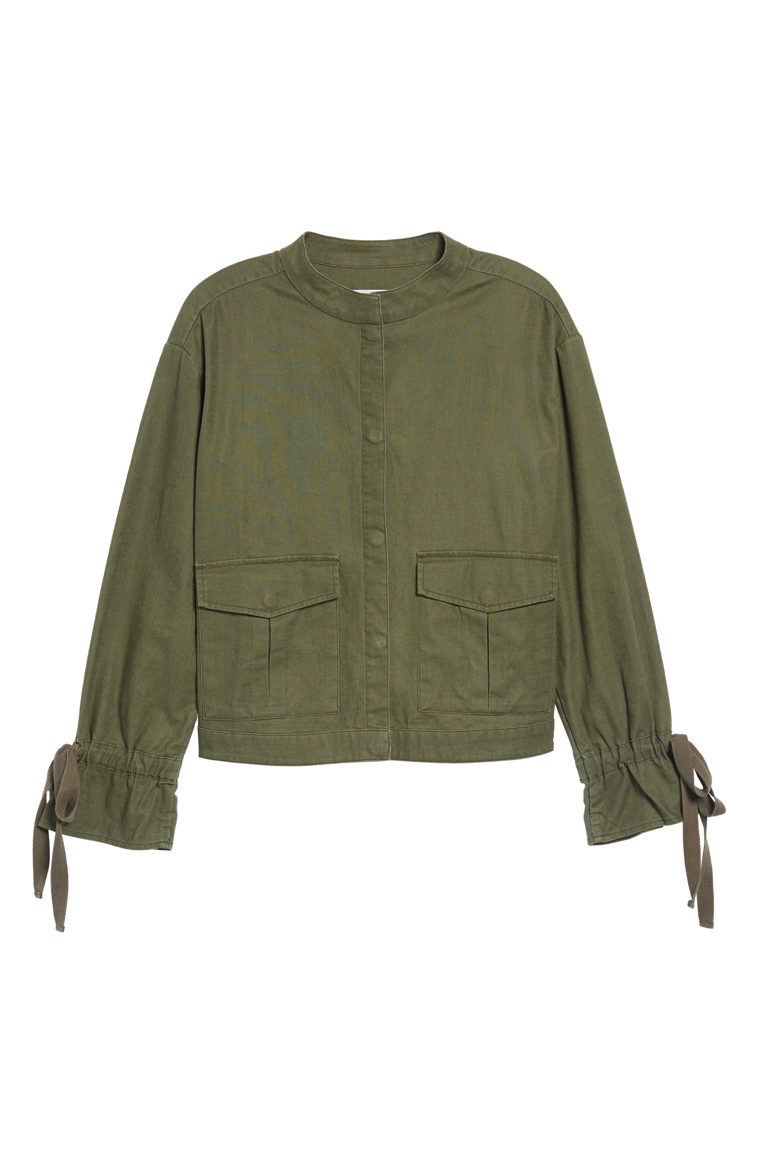 Tie Sleeve Linen & Cotton Jacket,                             Alternate thumbnail 14, color,