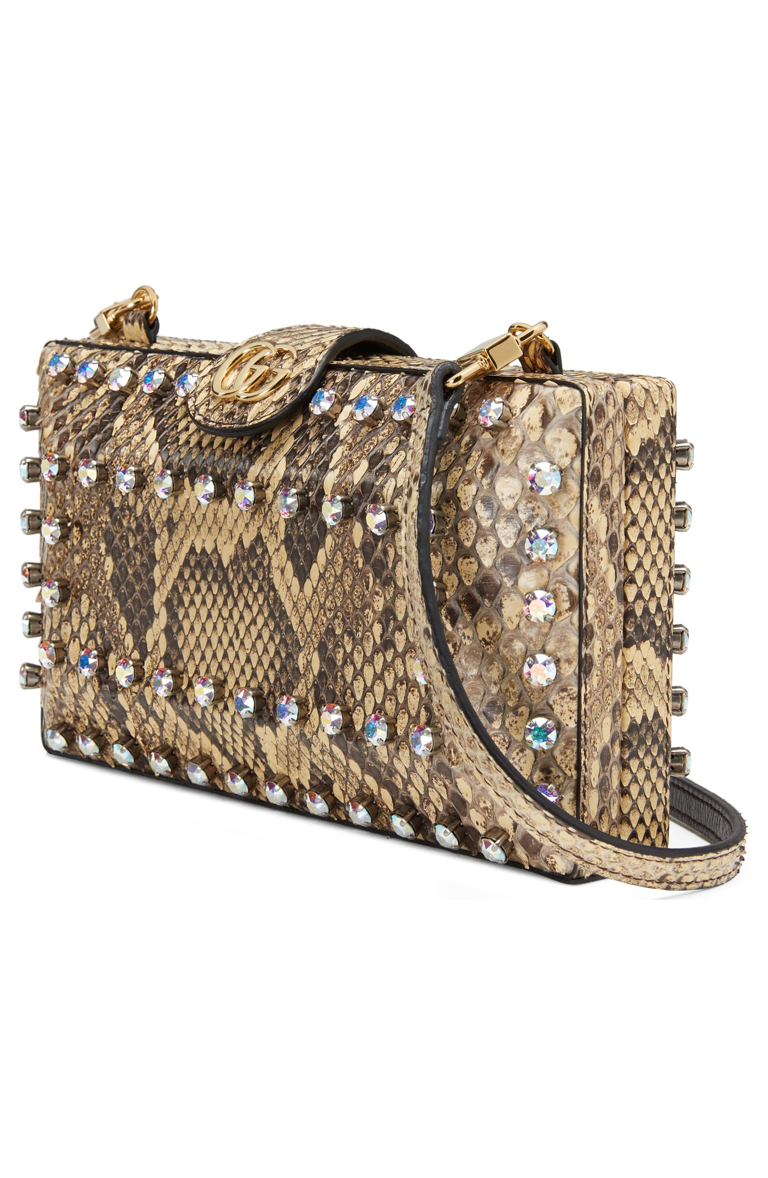 Broadway Genuine Python Minaudière,                             Alternate thumbnail 4, color,                             BEIGE/ NATURAL YELLOW/ CRYSTAL