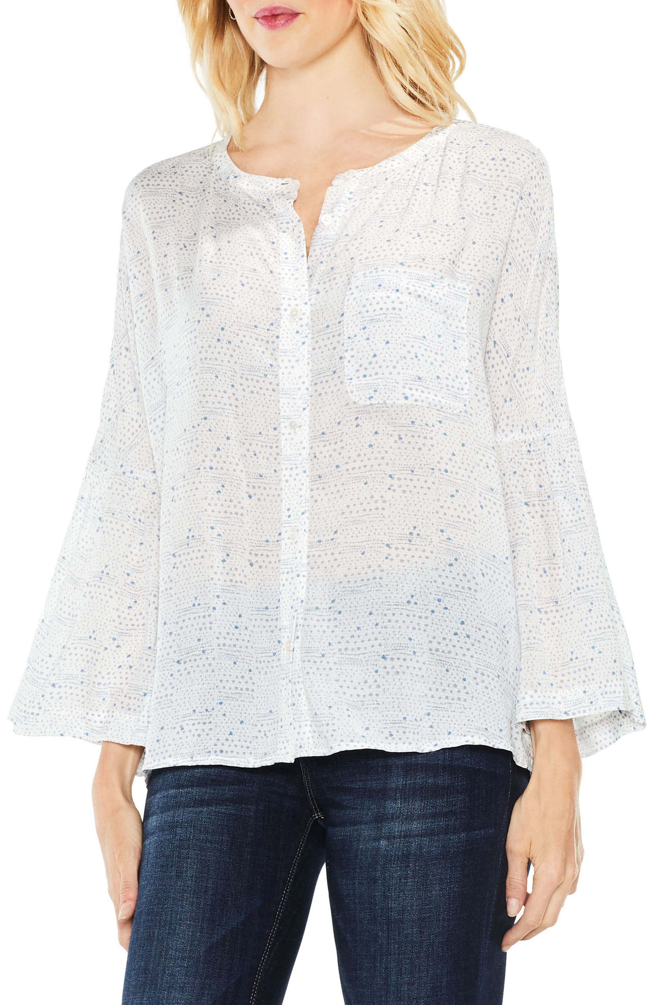 Two by Vince Camuto Bell Sleeve Geo Dialogue Top,                         Main,                         color,