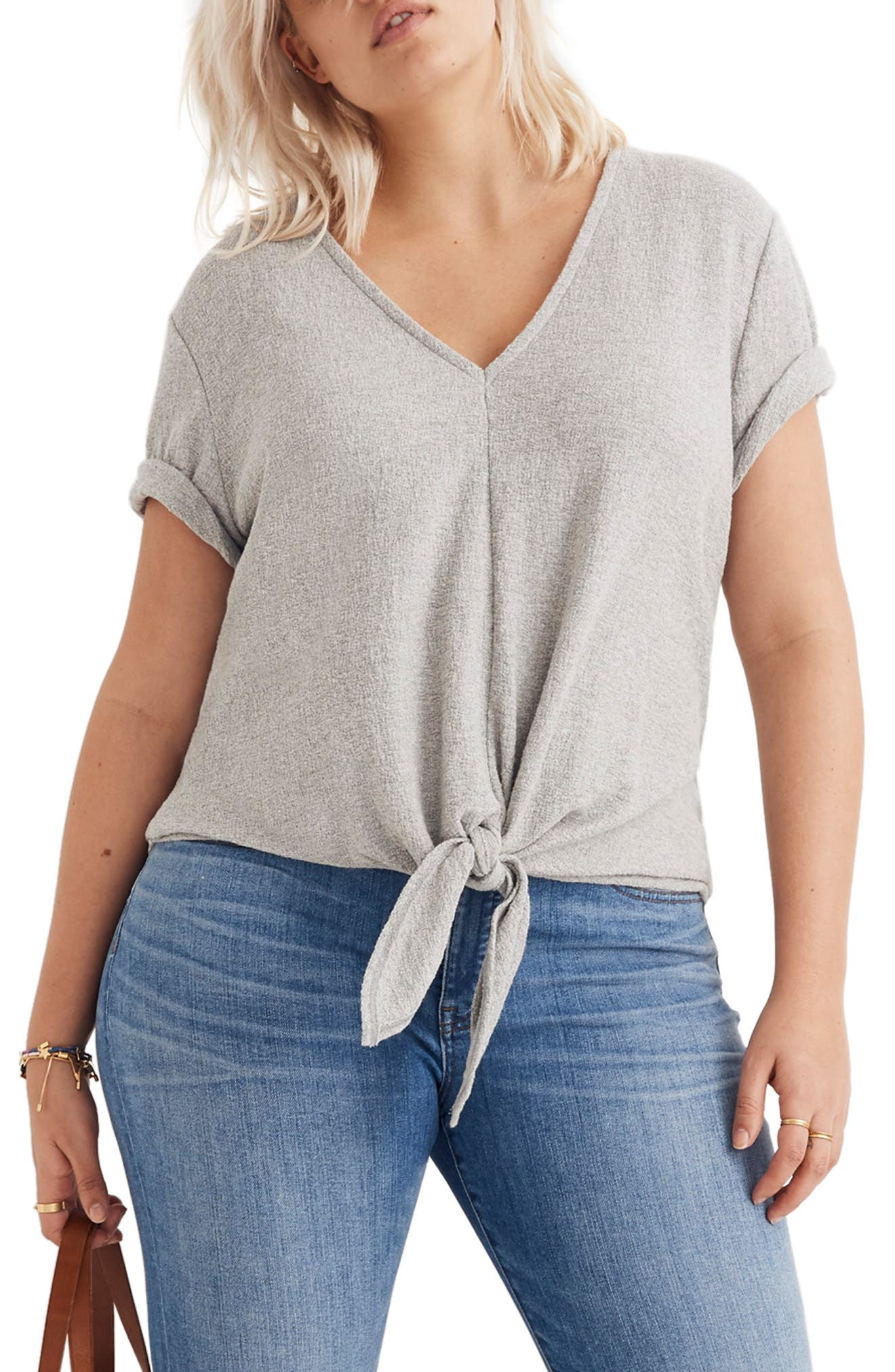 Texture & Thread V-Neck Modern Tie-Front Top,                             Alternate thumbnail 4, color,                             HEATHER PELICAN