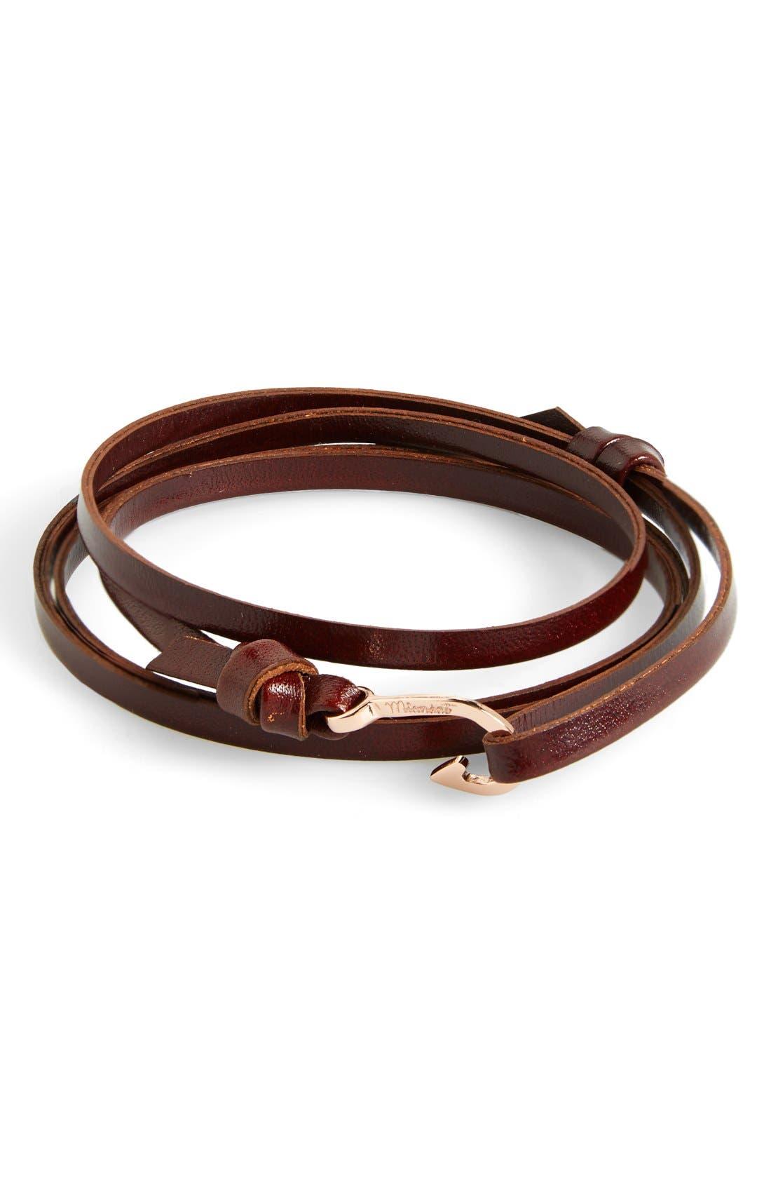 Rose Gold Mini Hook Leather Bracelet,                             Alternate thumbnail 3, color,