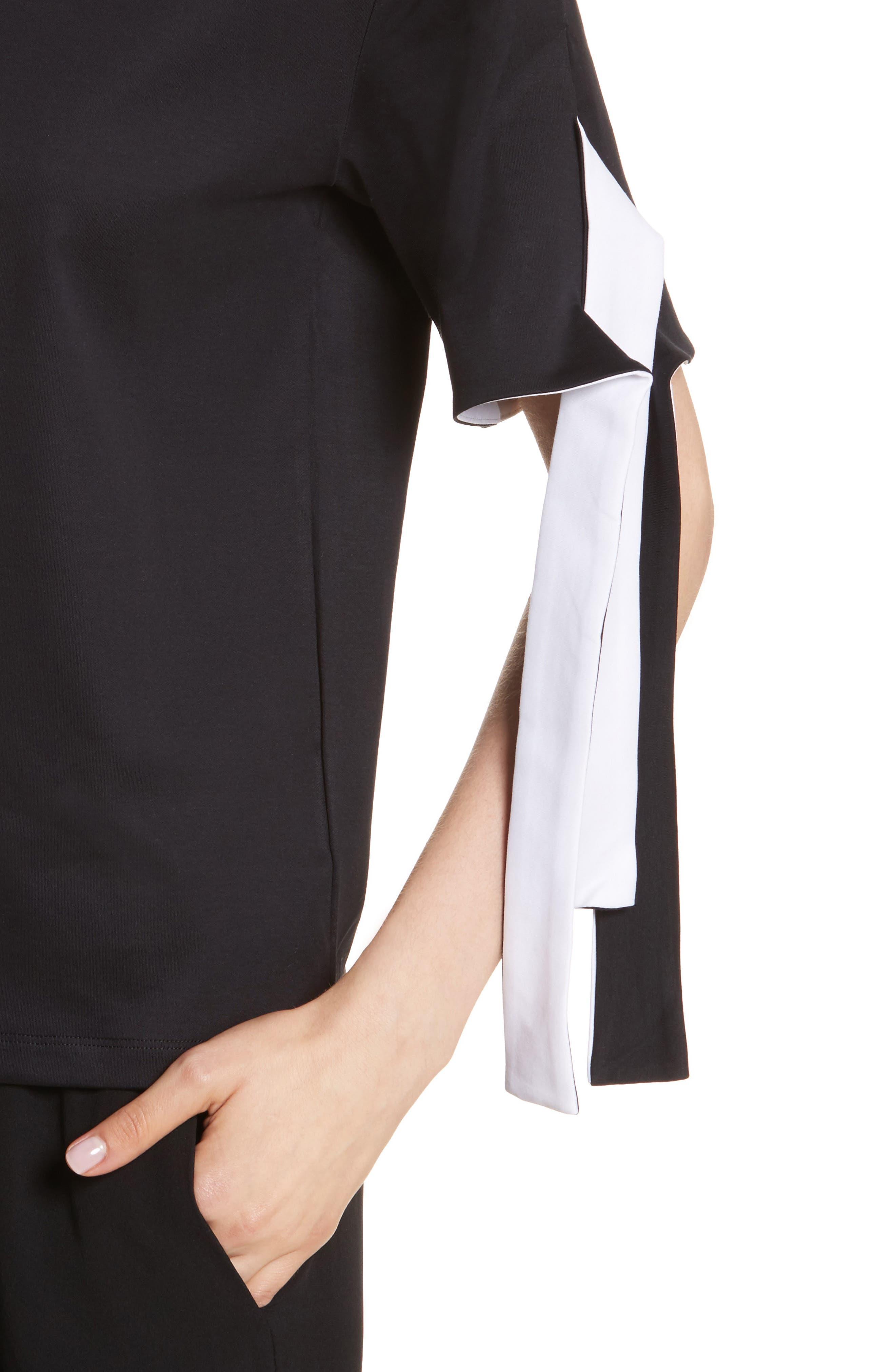 Tie Sleeve Cotton Tee,                             Alternate thumbnail 4, color,                             001