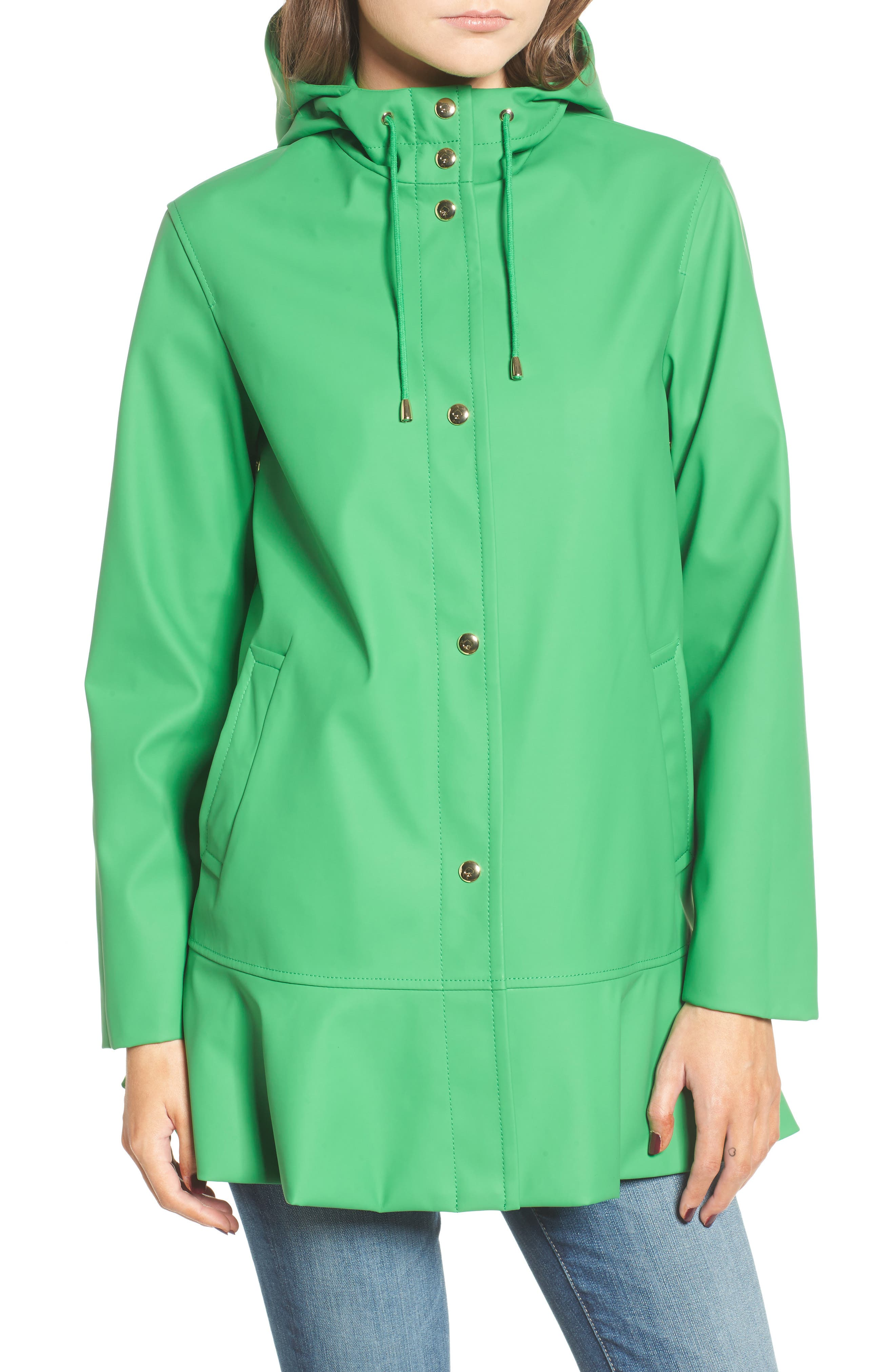 hooded peplum rain coat,                             Alternate thumbnail 4, color,                             330