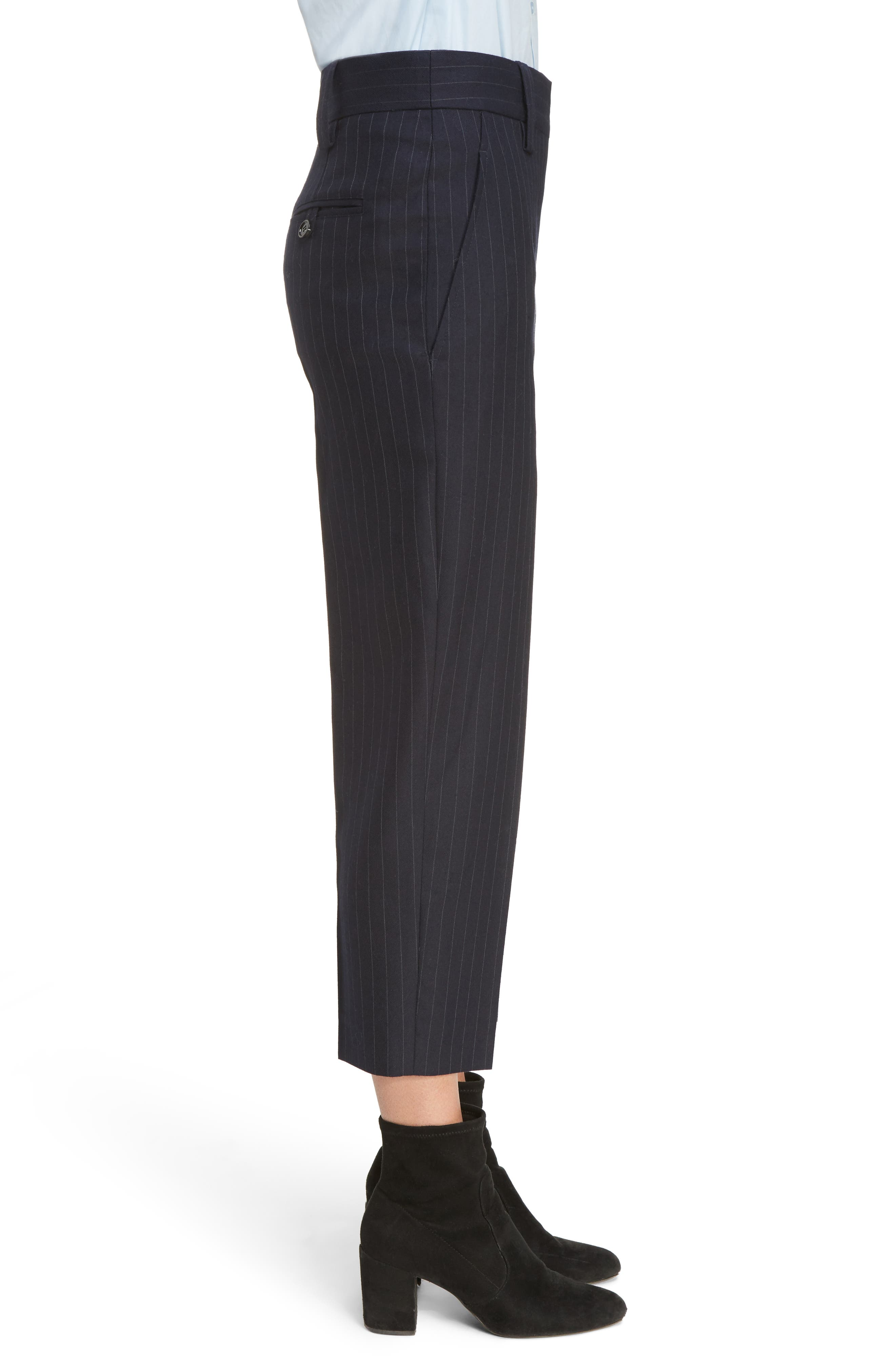 Trea Pinstripe Straight Leg Wool Pants,                             Alternate thumbnail 3, color,                             410