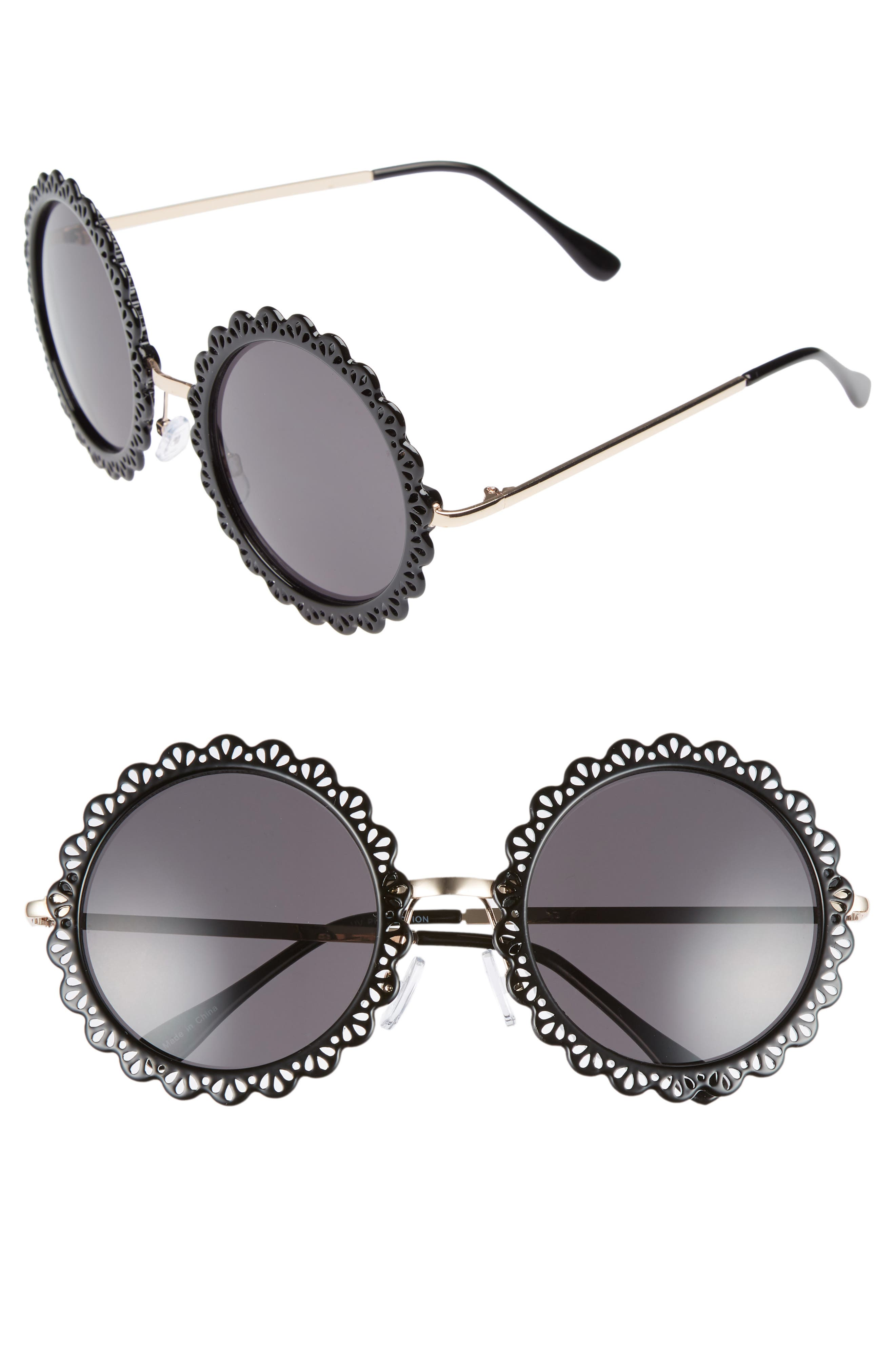 54mm Lace Detail Round Sunglasses,                         Main,                         color, 001