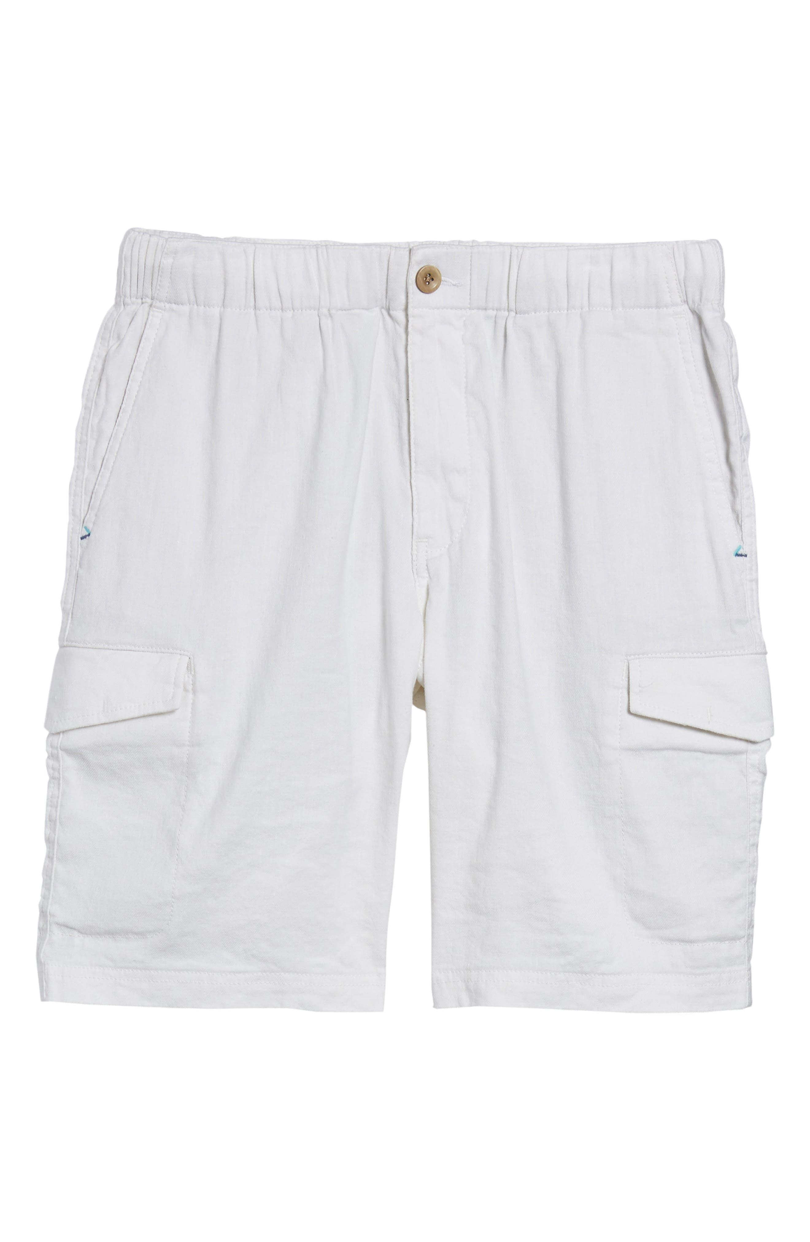 Beach Linen Blend Cargo Shorts,                             Alternate thumbnail 6, color,                             CONTINENTAL