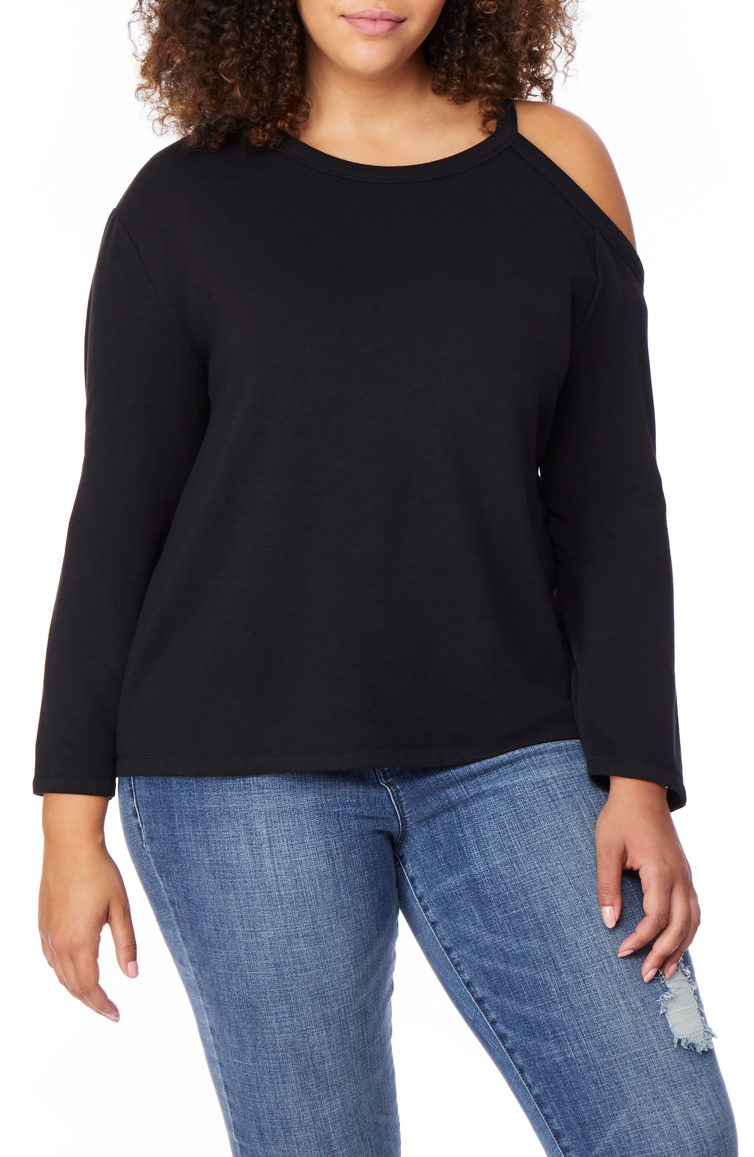 Cold Shoulder Sweatshirt,                         Main,                         color, BLACK