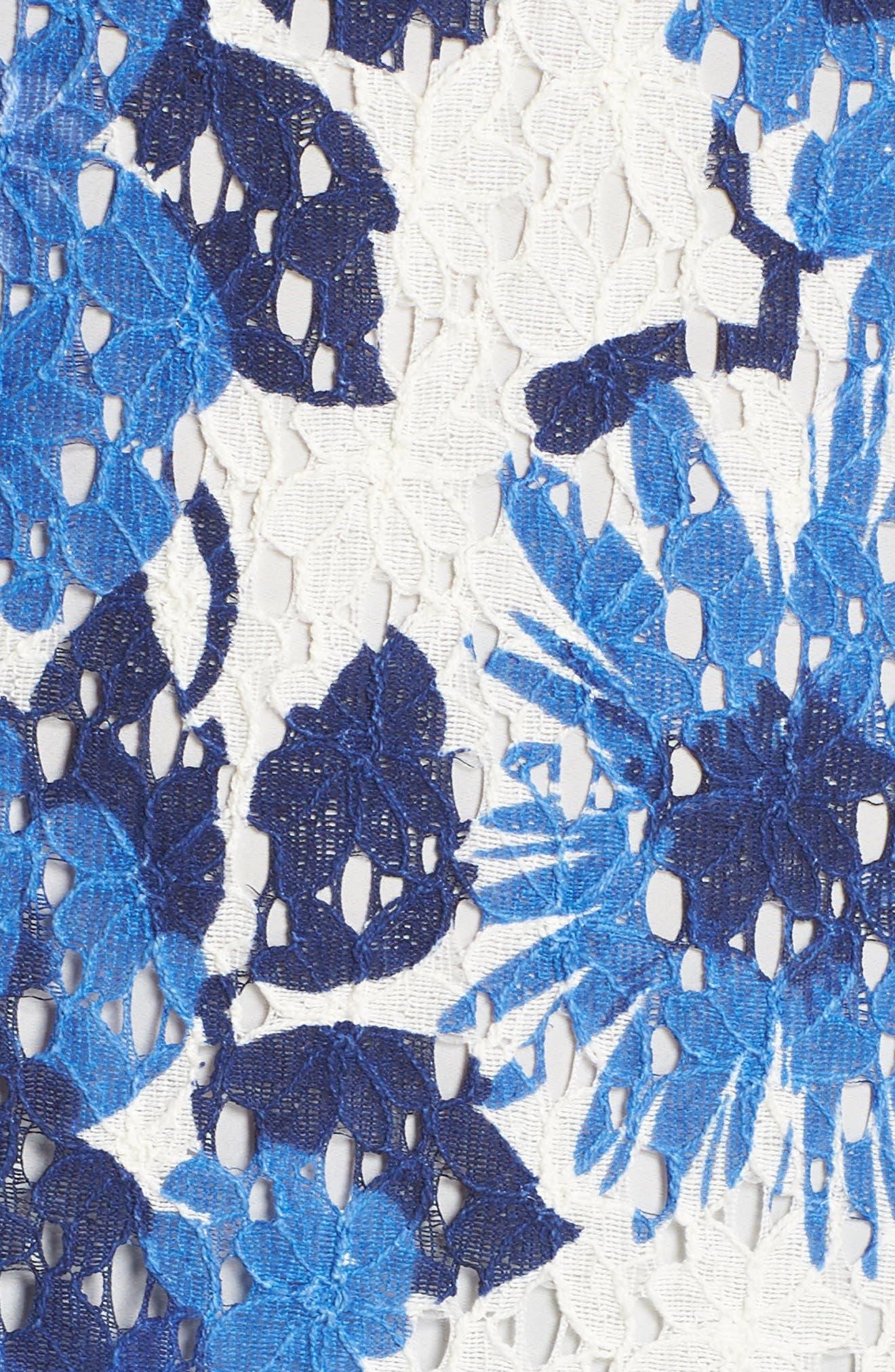 La Costa Print Ruffle Hem Lace Dress,                             Alternate thumbnail 5, color,                             MULTI