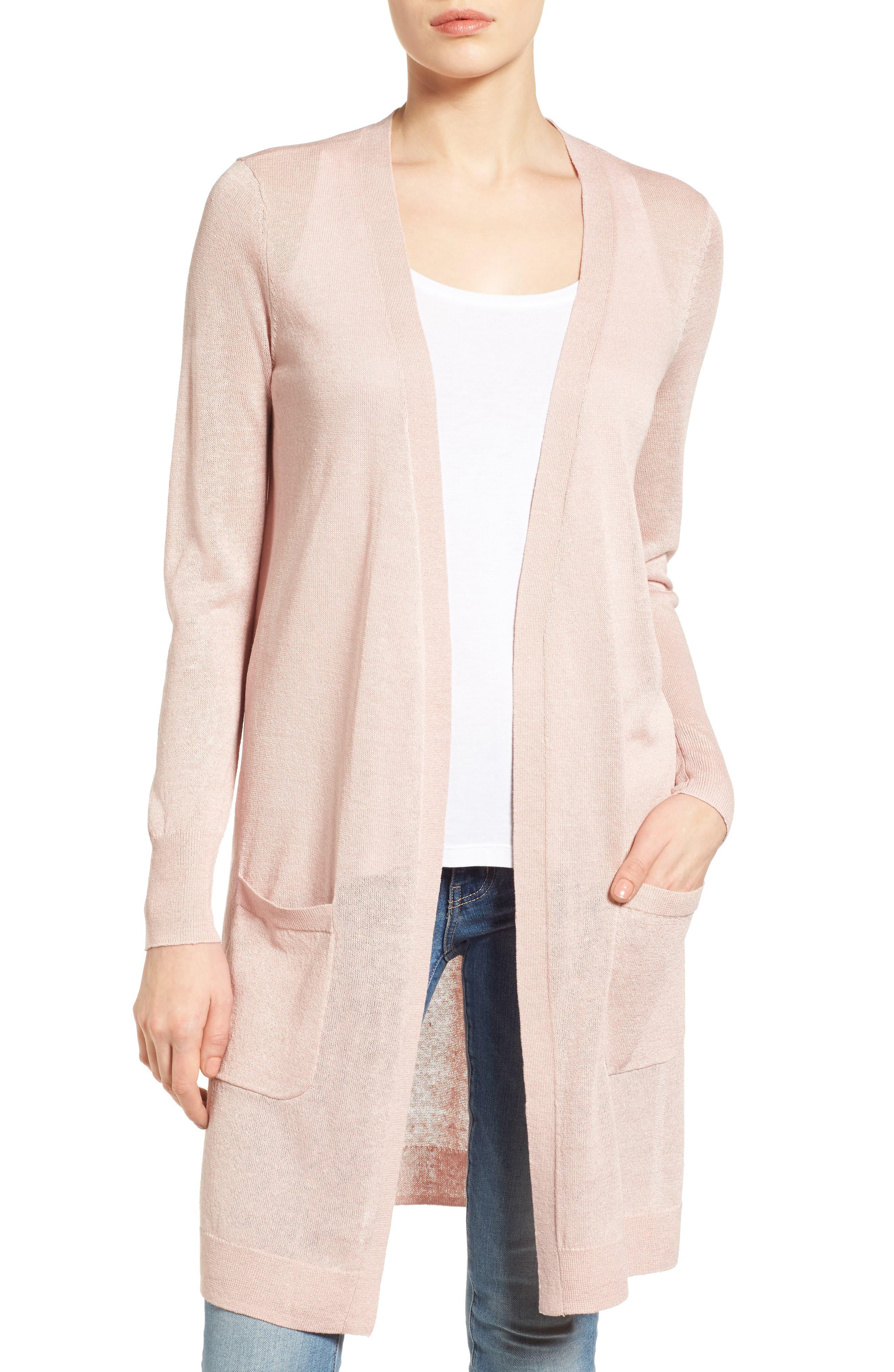 Petite Halogen Long Linen Blend Cardigan, Pink