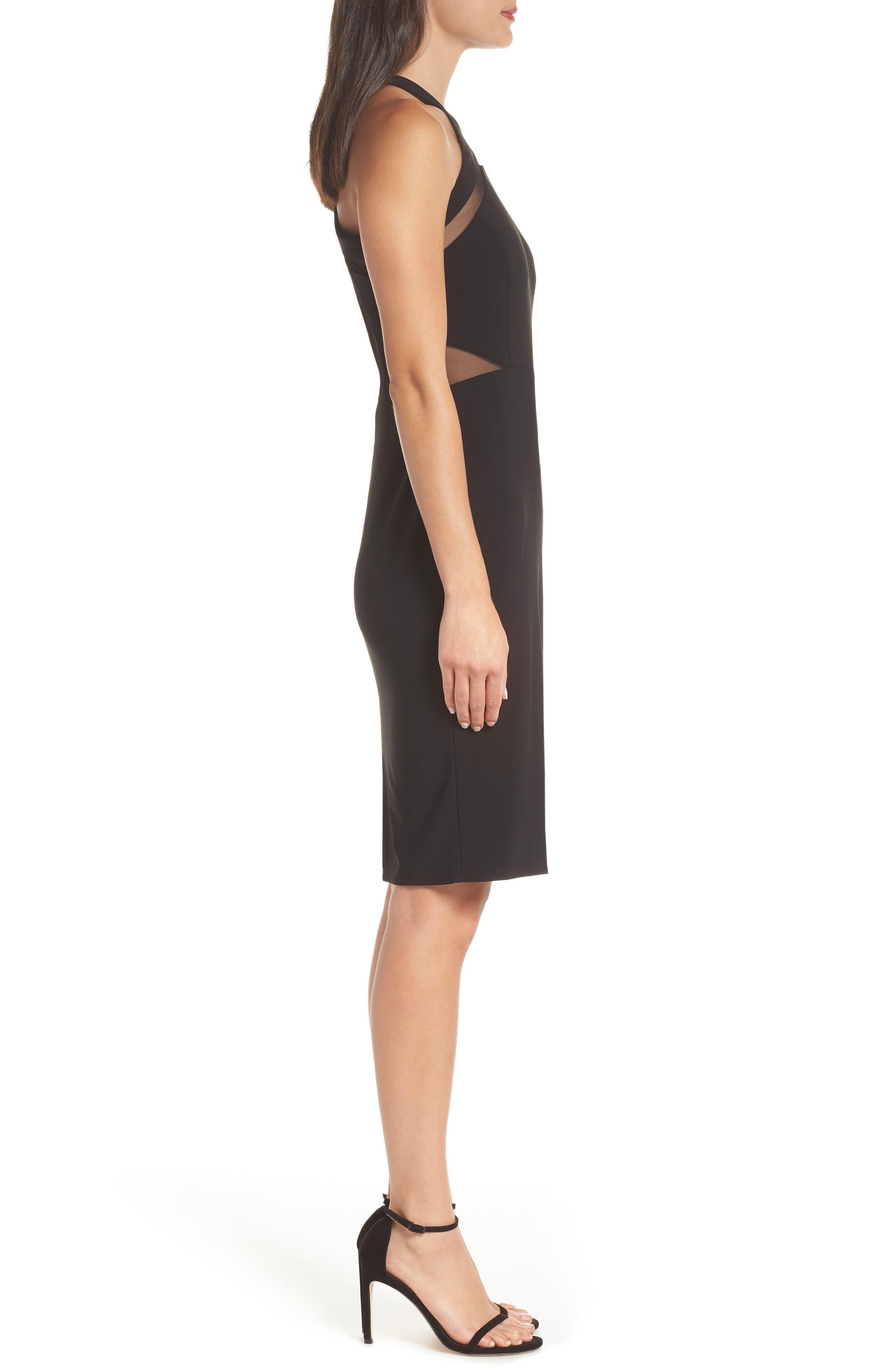 Mesh Inset Sheath Dress,                             Alternate thumbnail 3, color,                             BLACK