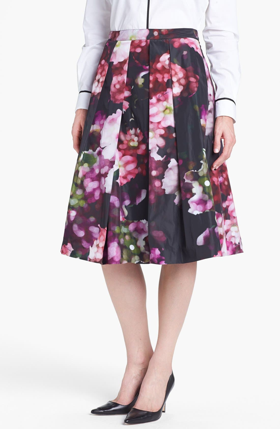 Floral Print Pleated Midi Skirt,                             Main thumbnail 1, color,                             540