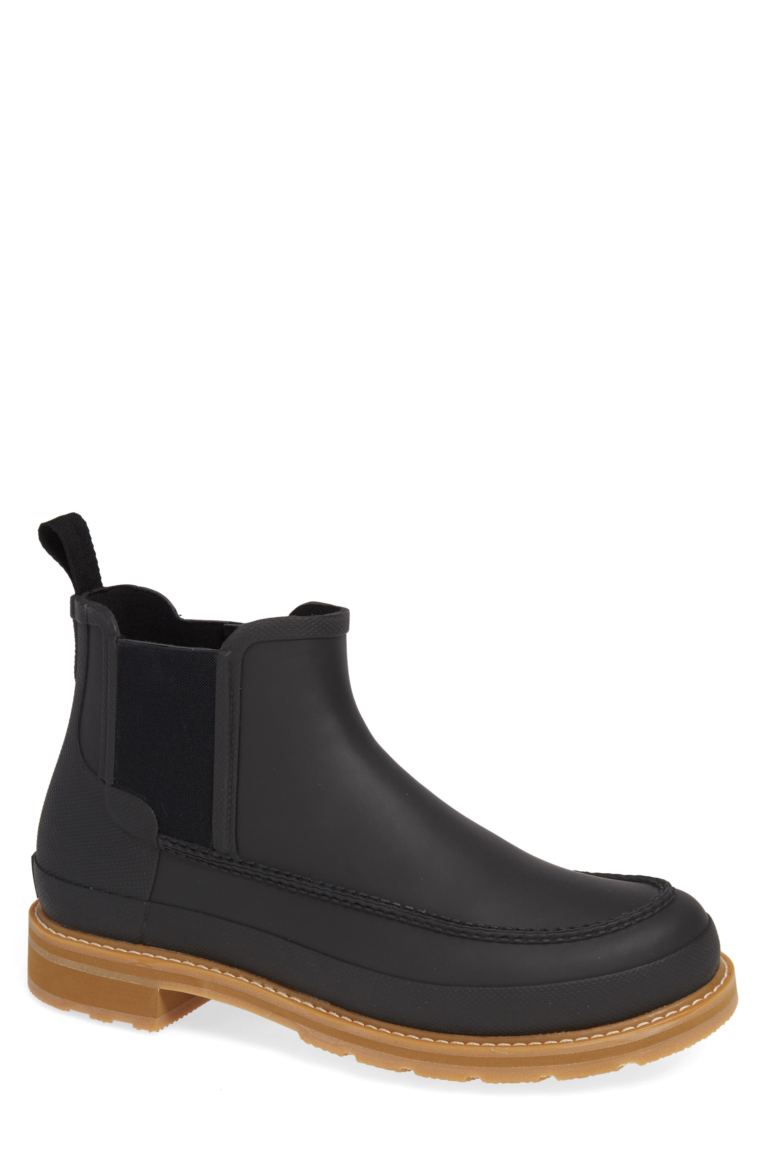 HUNTER,                             Moc Toe Waterproof Chelsea Boot,                             Main thumbnail 1, color,                             BLACK