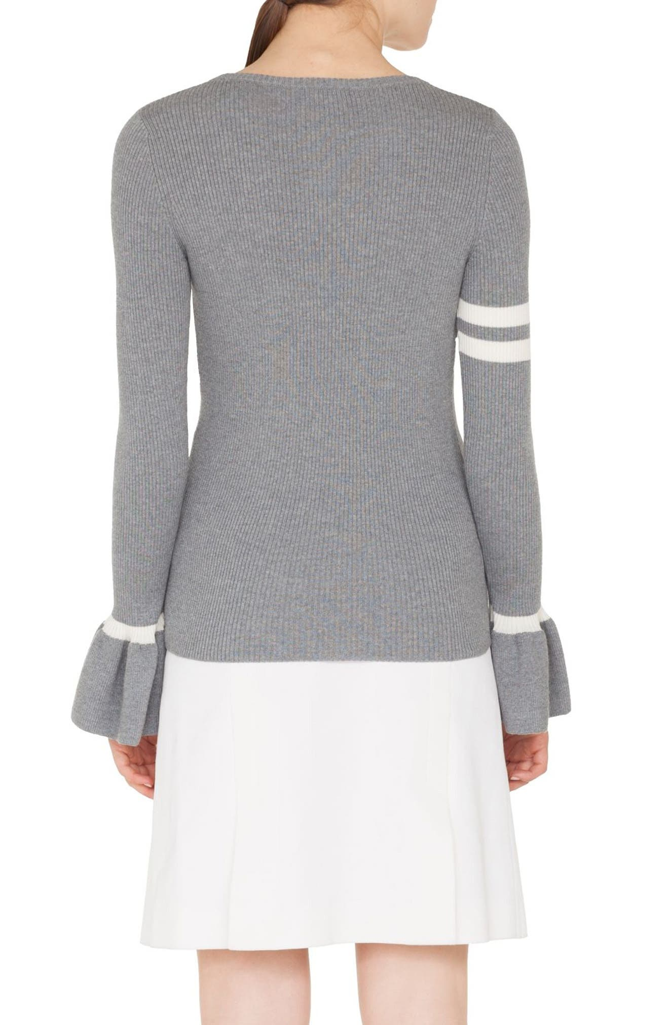 Stripe Wool Bell Sleeve Sweater,                             Alternate thumbnail 2, color,                             SILVER-CREAM