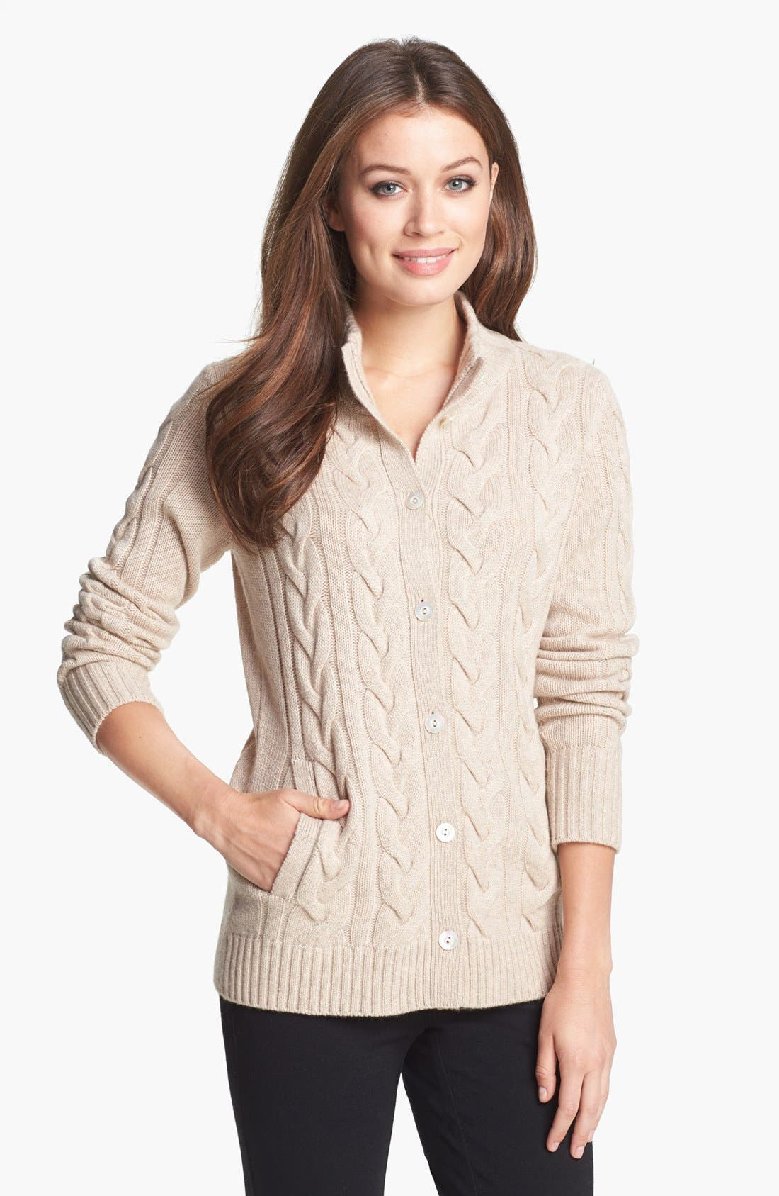 Chunky Cable Cashmere Cardigan,                             Main thumbnail 2, color,