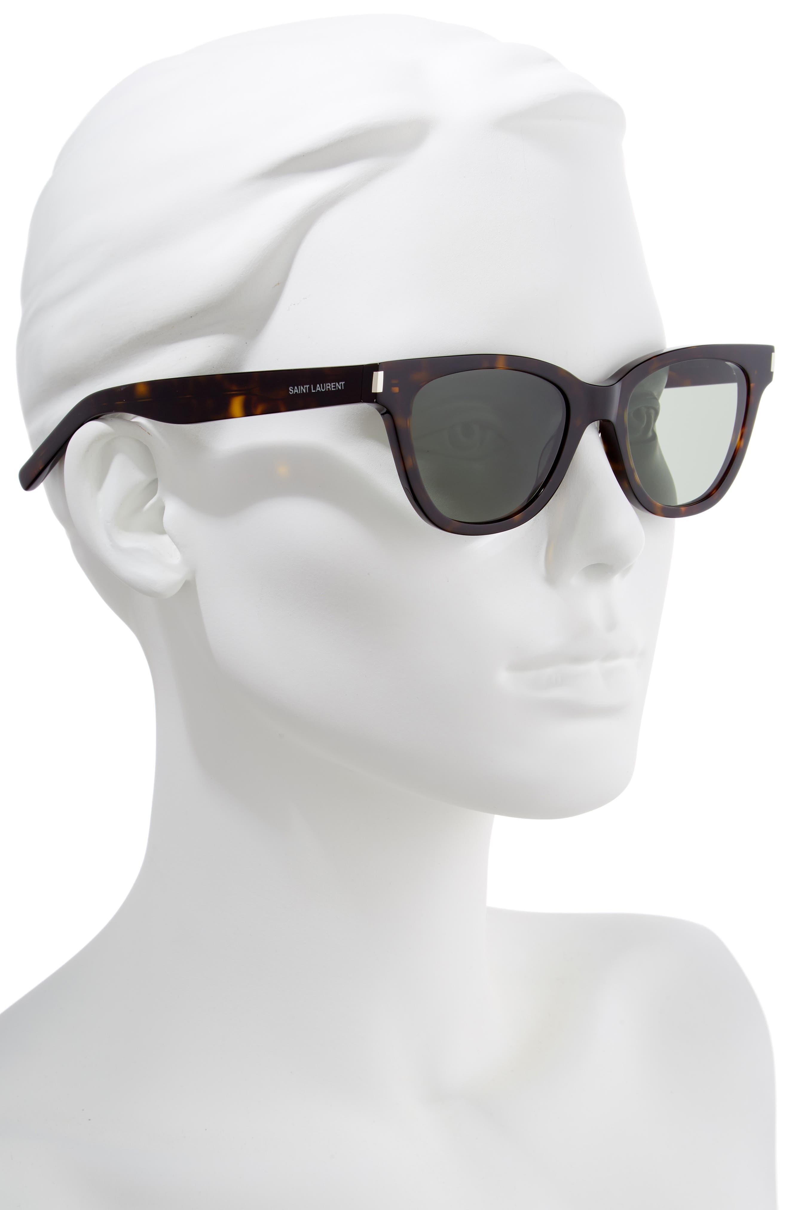 51mm Cat Eye Sunglasses,                             Alternate thumbnail 2, color,                             DARK HAVANA/ GREEN