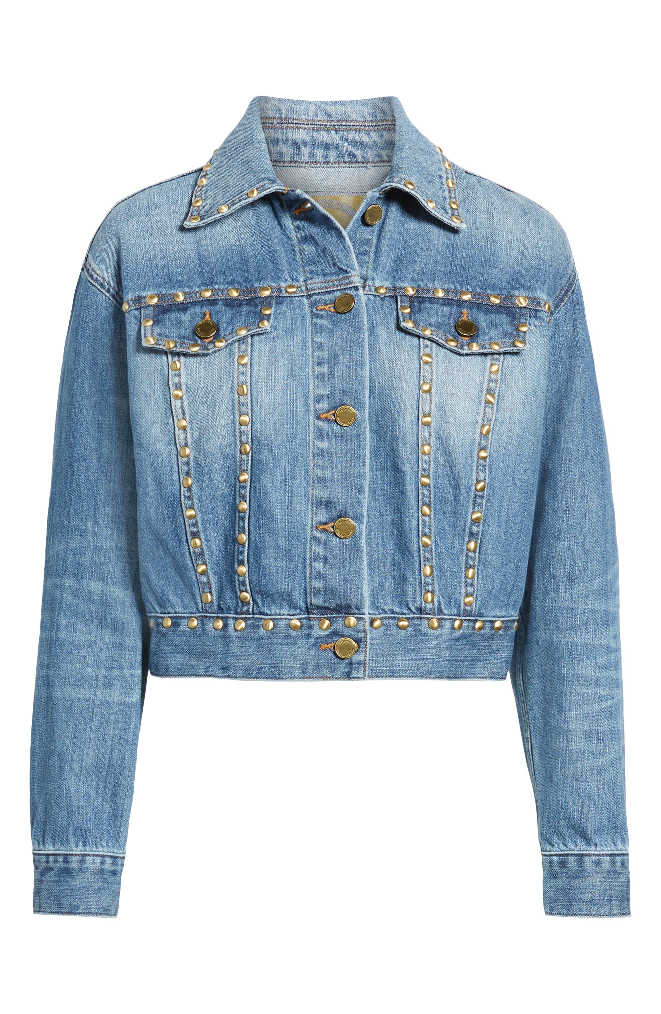 Studded Denim Jacket,                             Alternate thumbnail 6, color,                             ANTIQUE WASH