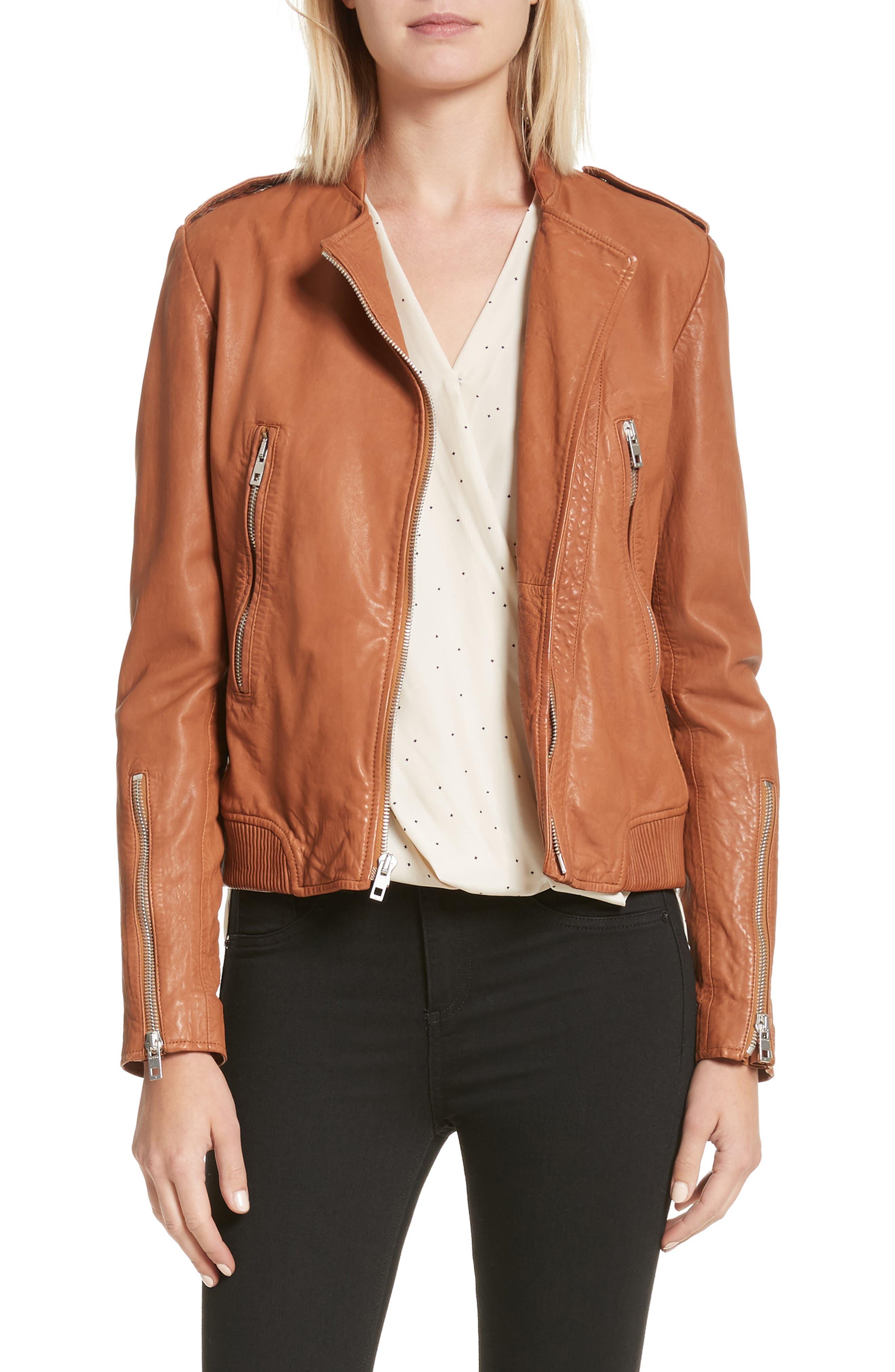 Lyon Leather Jacket,                         Main,                         color, 200