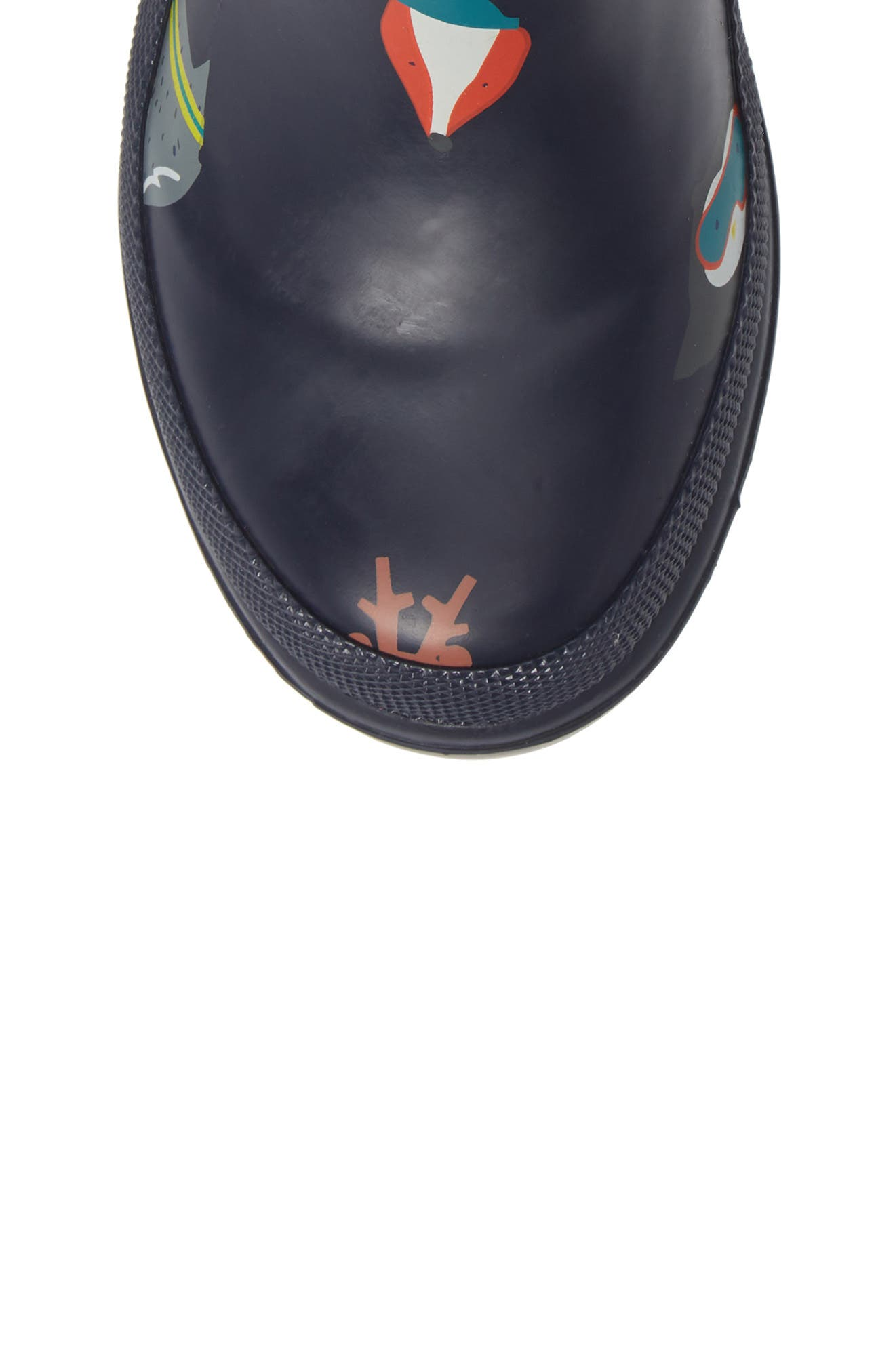 Welly Print Rain Boot,                             Alternate thumbnail 5, color,                             FRENCH NAVY ANIMALS