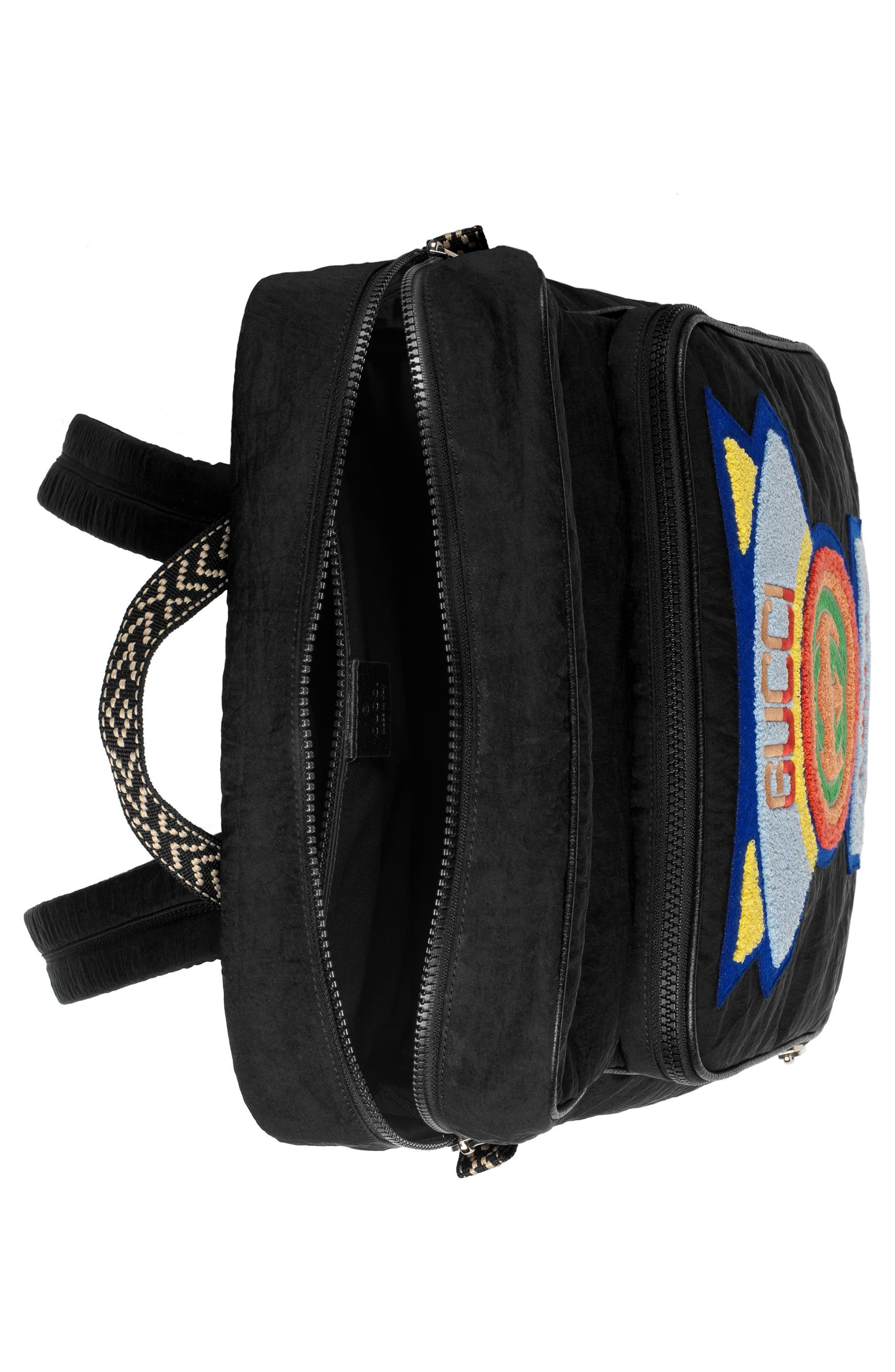 Patch Backpack,                             Alternate thumbnail 3, color,                             BLACK